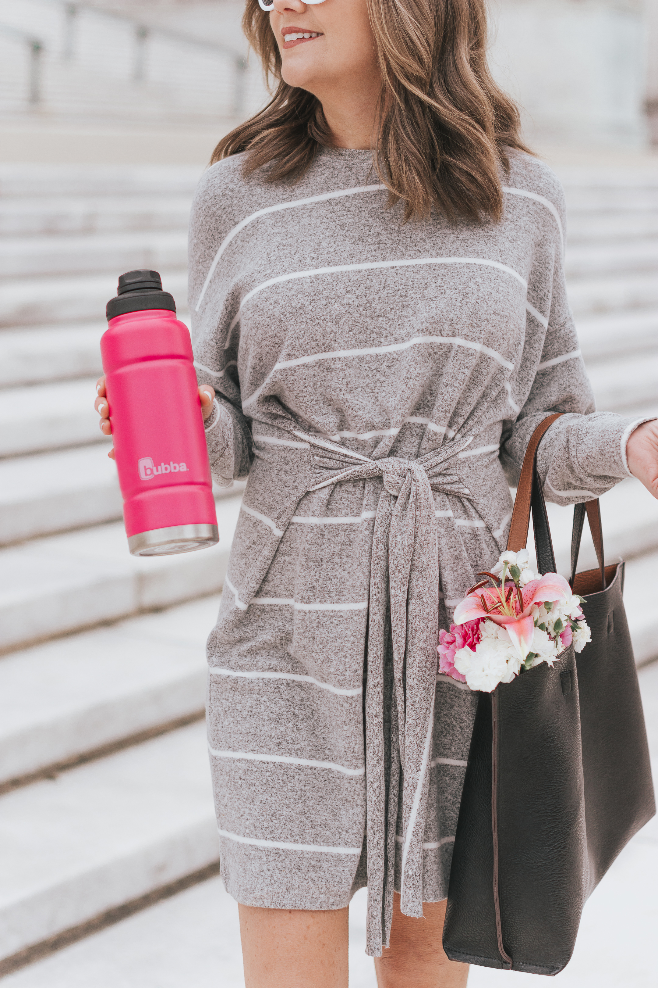 bubba water bottle, what to do in chicago in the summer, staycation, grey tie front mini dress, staying hydrated in the summer in chicago