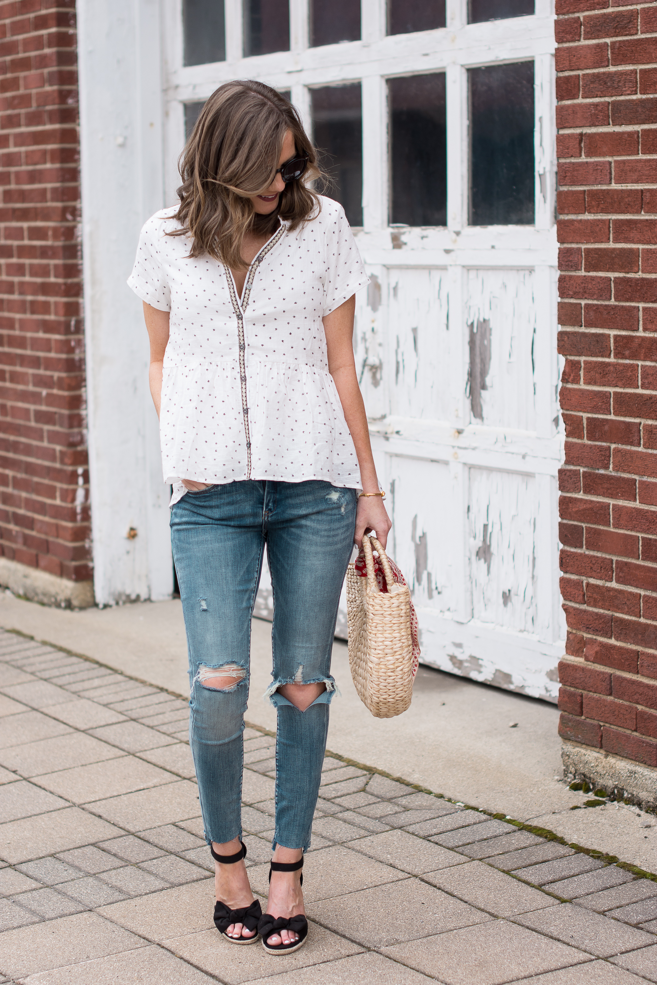 authenticity in blogging, trustworthy bloggers, distressed boyfriend jean jacket bow wedges, Roolee boutique, easy spring outfit formula, dressing up jeans for spring