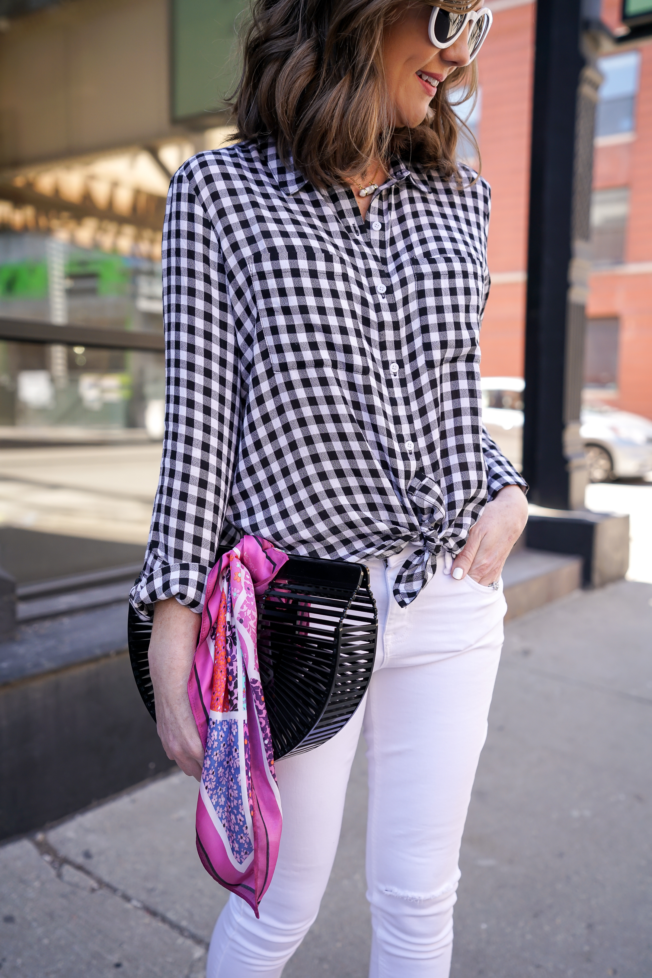 gingham tie front top, the best white skinny jeans, baublebar jewelry for less, spring day to night outfit idea, the best wedge espadrilles