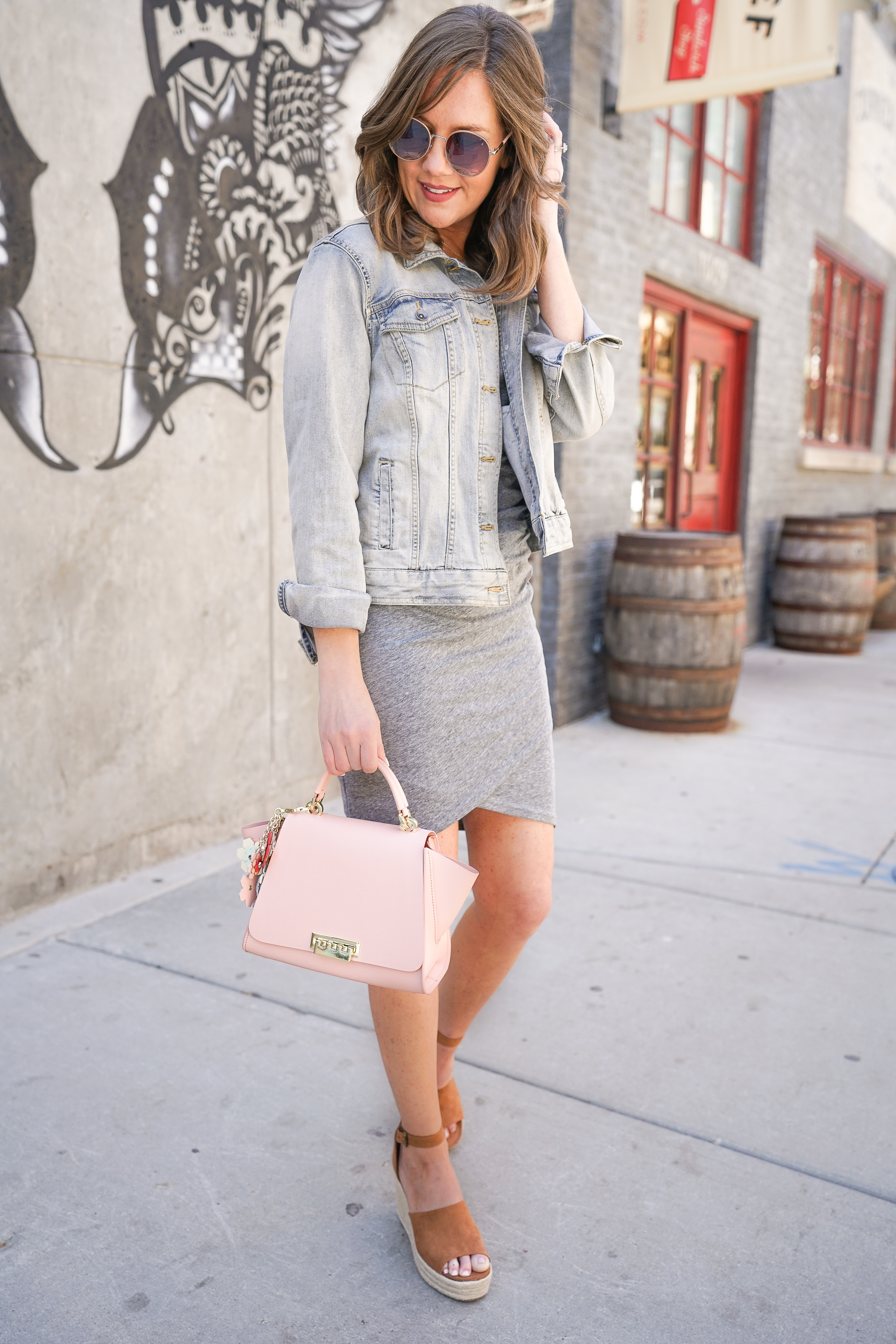 wedge-sandal-outfit-espadrille-wedges-t-shirt-dress-jean-jacket-spring-bag-wedges