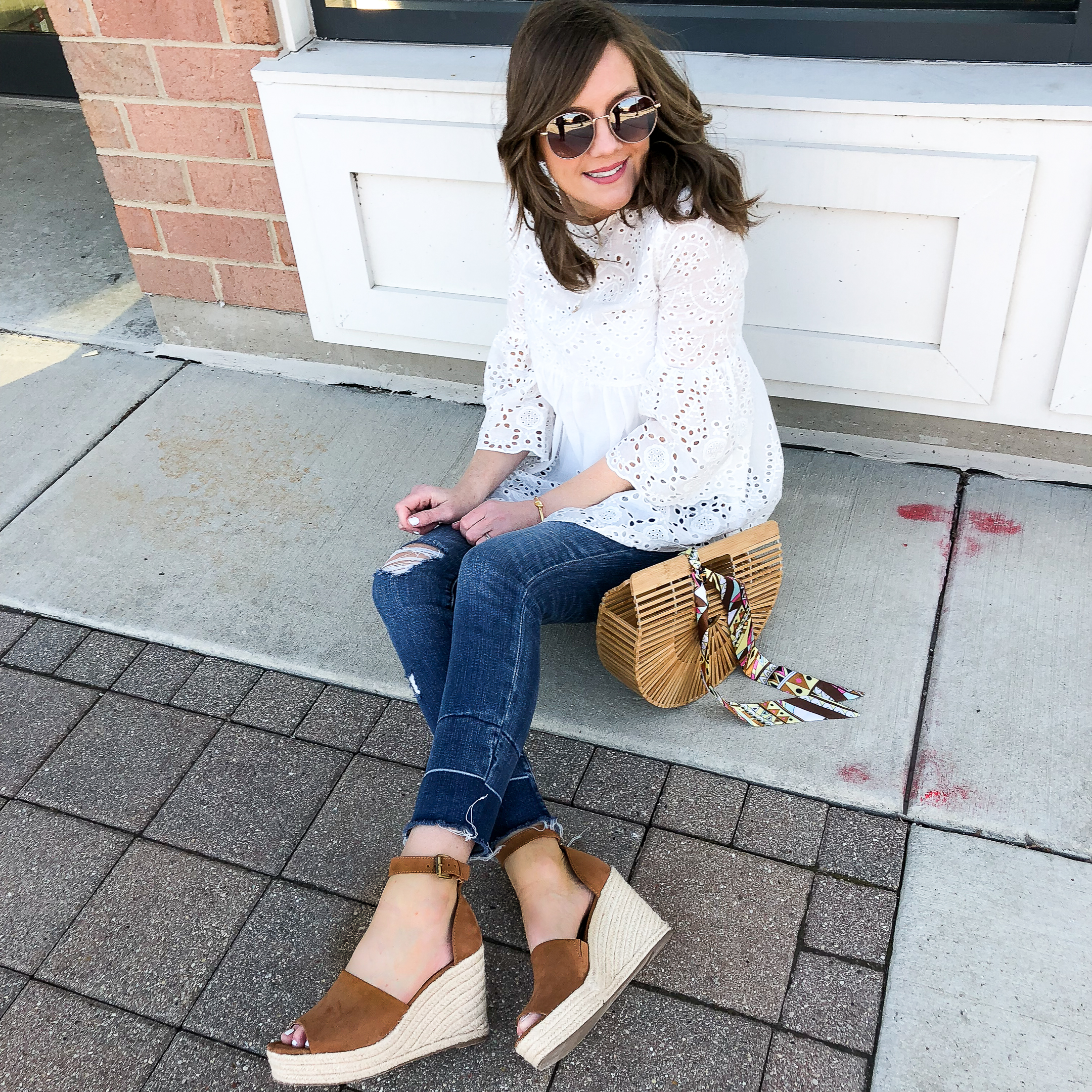 wedge-sandal-outfit-espadrille-wedges-distressed-denim-eyelet-blouse