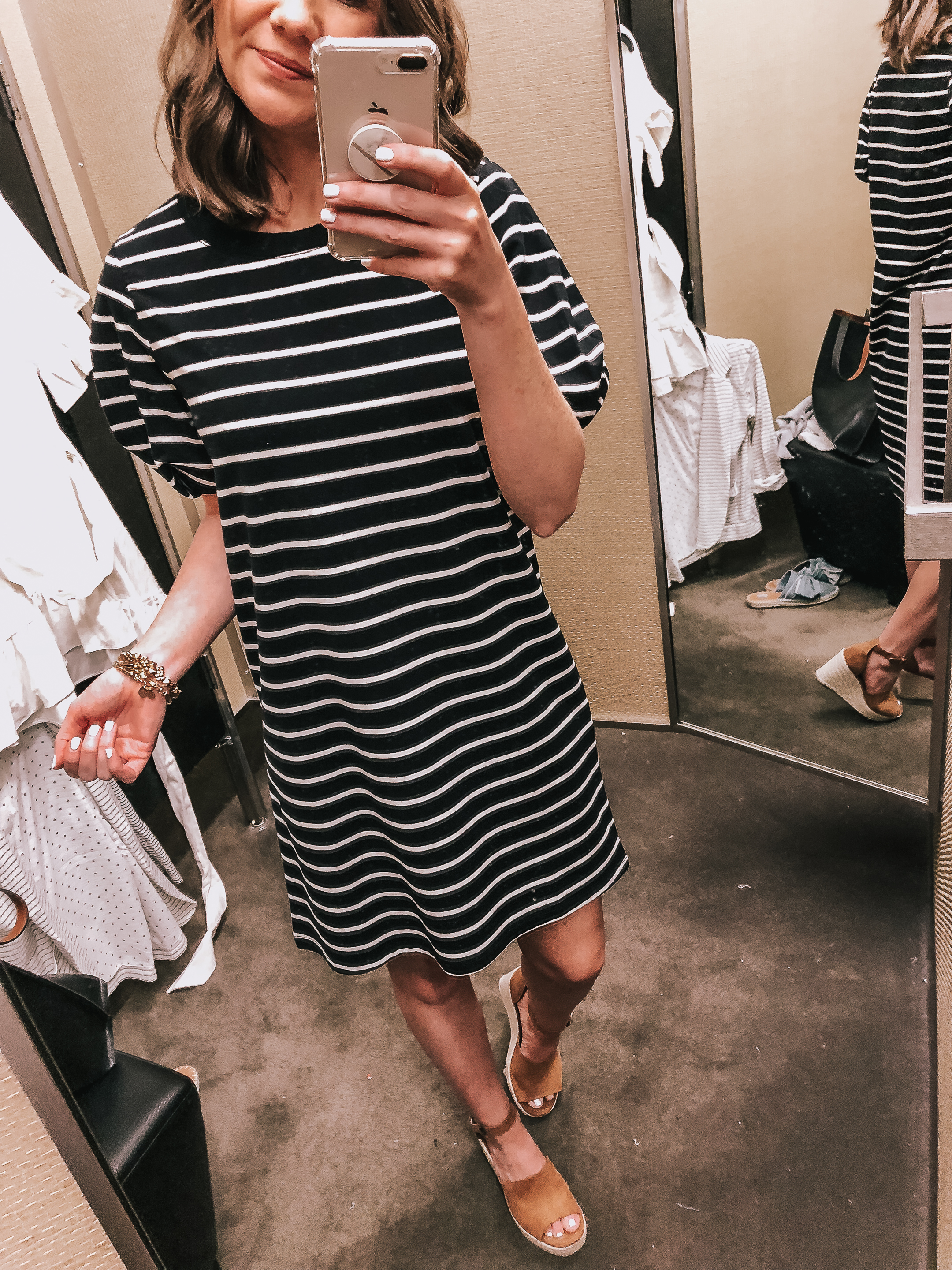 simon malls, woodfield, mother's day gift ideas, Nordstrom striped puff sleeve t-shirt dress