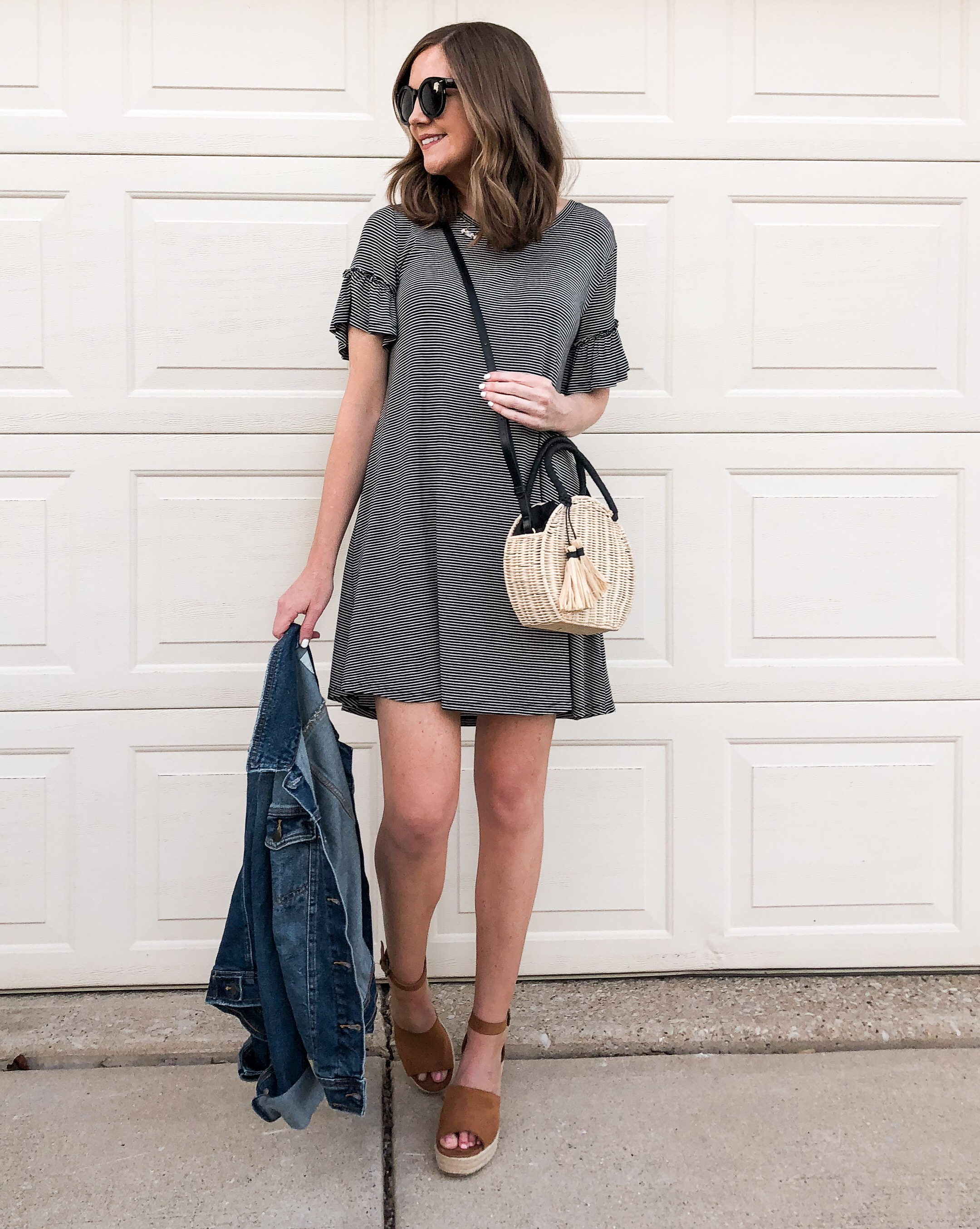 easy everyday outfits, head to toe target outfit, ruffle sleeve striped tee shirt dress, the best bags to buy at target, target basket bag