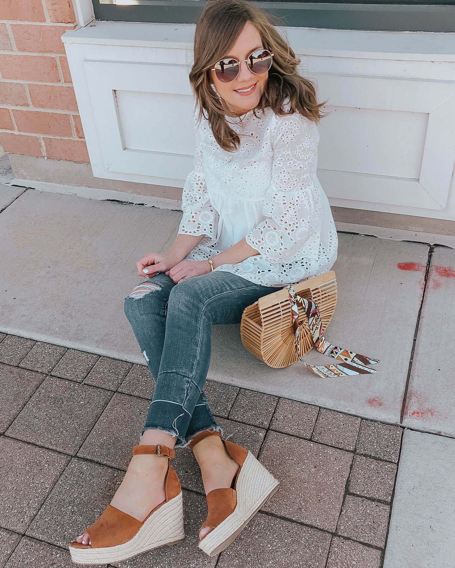 easy everyday outfits, shein eyelet tunic, cult gaia dupe