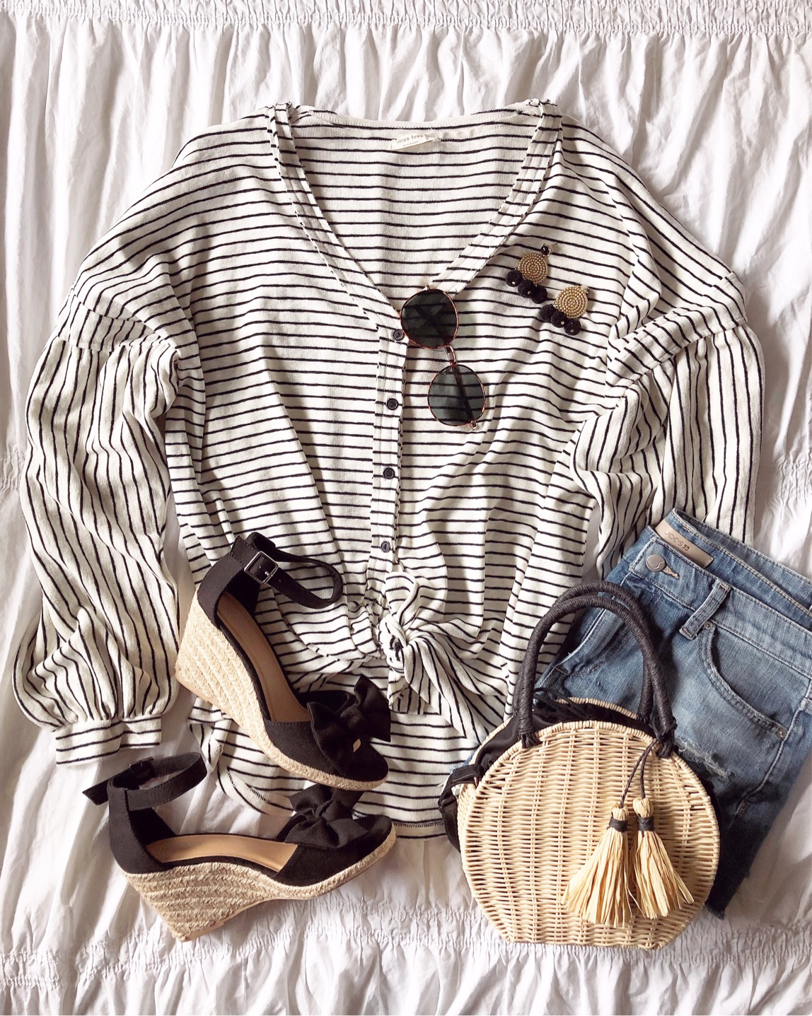 tie front top, stripes, easy everyday outfits, old navy bow wedges