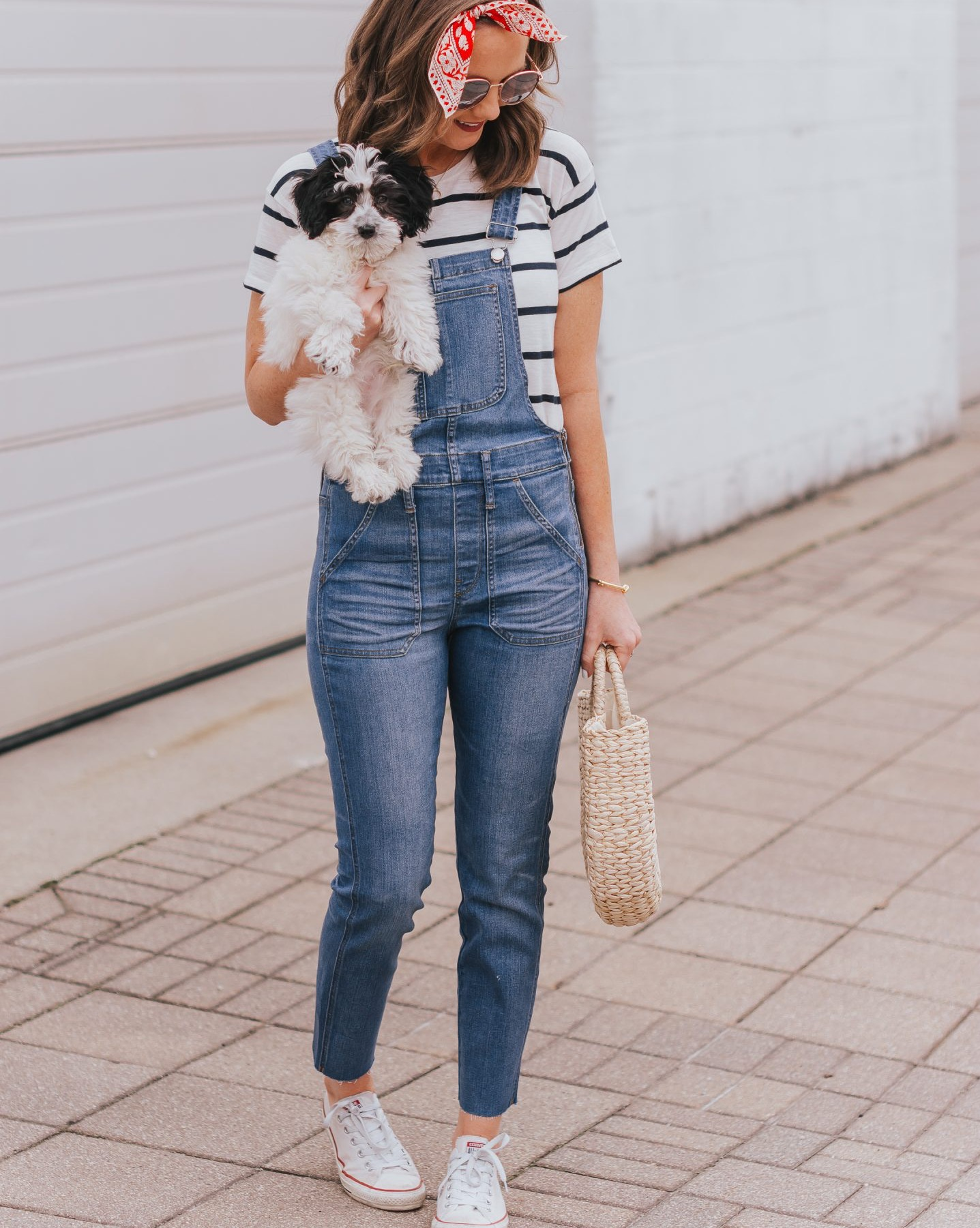 what to wear for the 4th of july, 4th of july outfit inspiration,, overalls and stripes, subtle red white and blue outfit