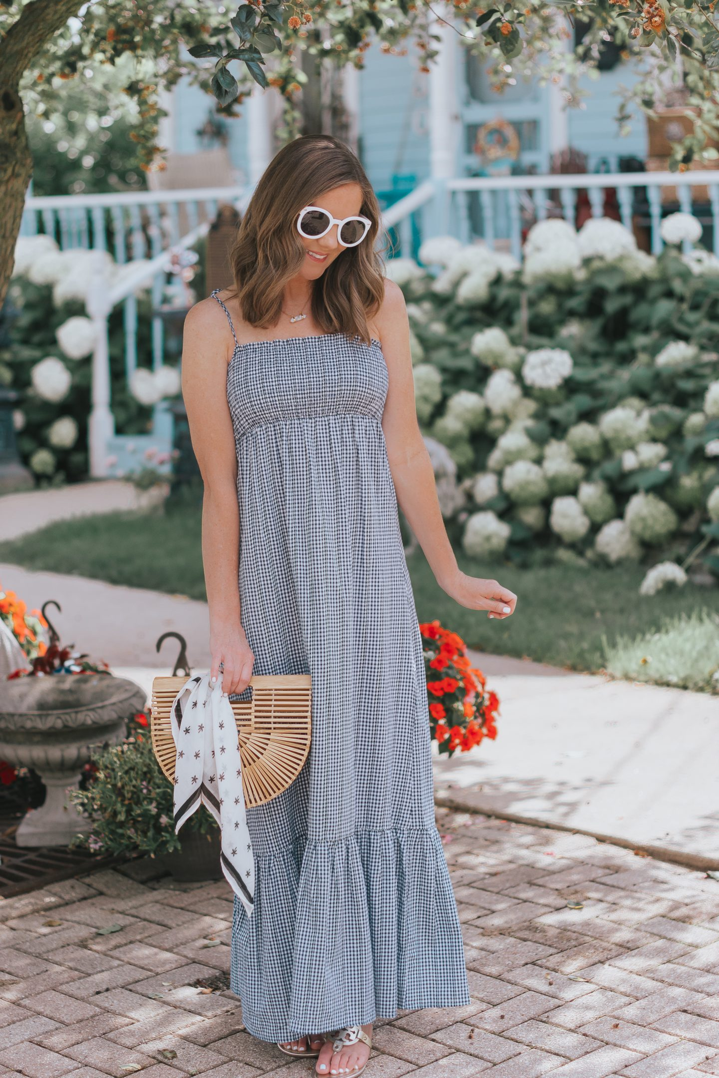 the perfect dress for the heat of the summer, stage stores, navy gingham maxi dress, the most flattering maxi dress
