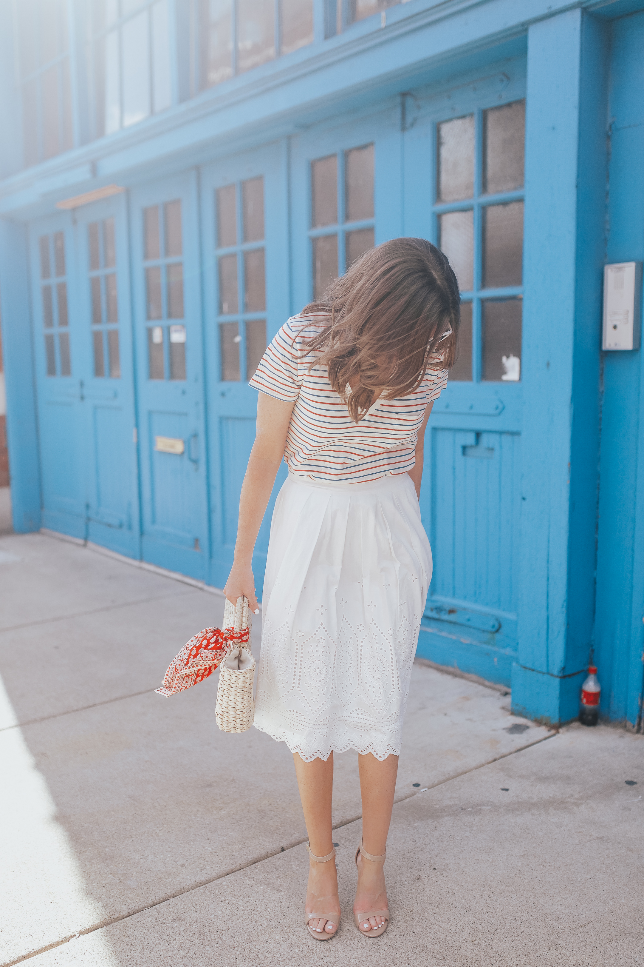 5097454b0f26 white-eyelet-midi-skirt-eyelet-and-stripes-planning a  day-trip-to-western-michigan-madewell-whisper-cotton-v-neck-tee