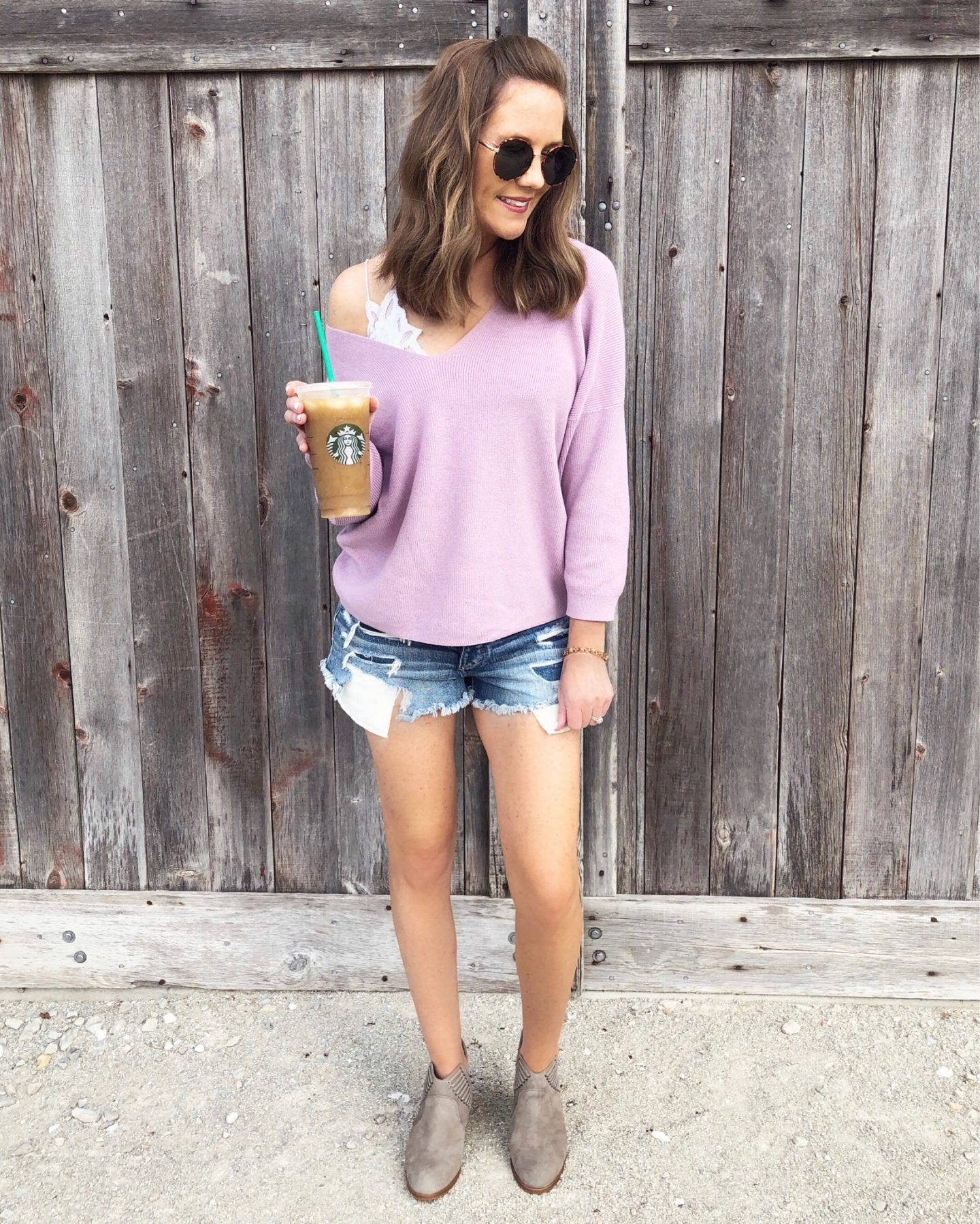 Real Life Outfits, what to wear in the fall, fall fashion 2018, how to transition summer clothing to fall, fall fashion trends for 2018, mom style, lavender off the shoulder sweater, free people bralette