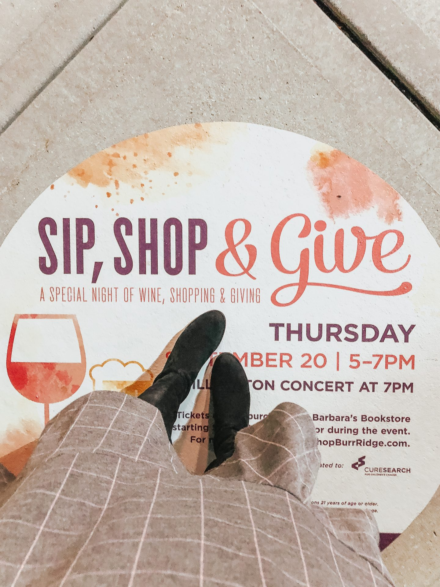 Burr Ridge Village Center Cure Search Event, Sip Shop Give, best outdoor mall Chicago Western suburbs