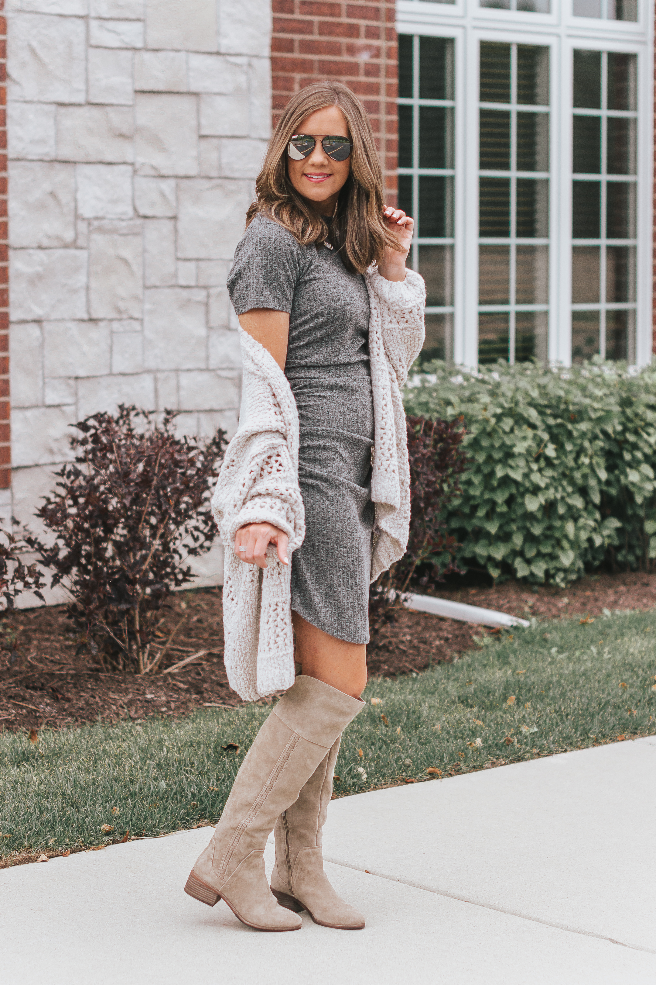 9ebb95acf22b how to style over the knee boots with a mini dress, mom fashion, ...