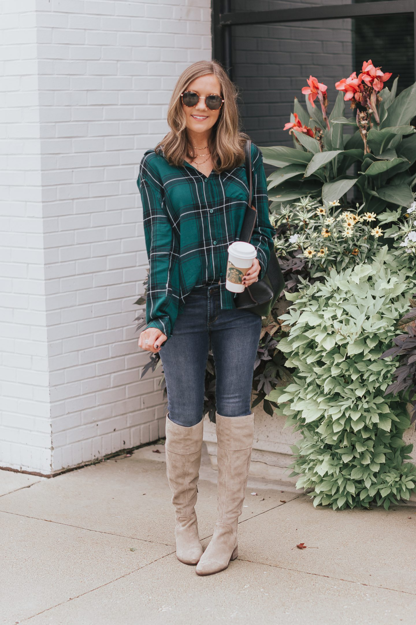 quintessential fall outfit, 10 fall must haves, 2018 fall fashion, plaid shirt, skinny jeans, over the knee boots