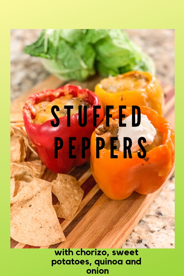 Chorizo Stuffed Peppers, stuffed peppers with chorizo sweet potatoes onions quinoa