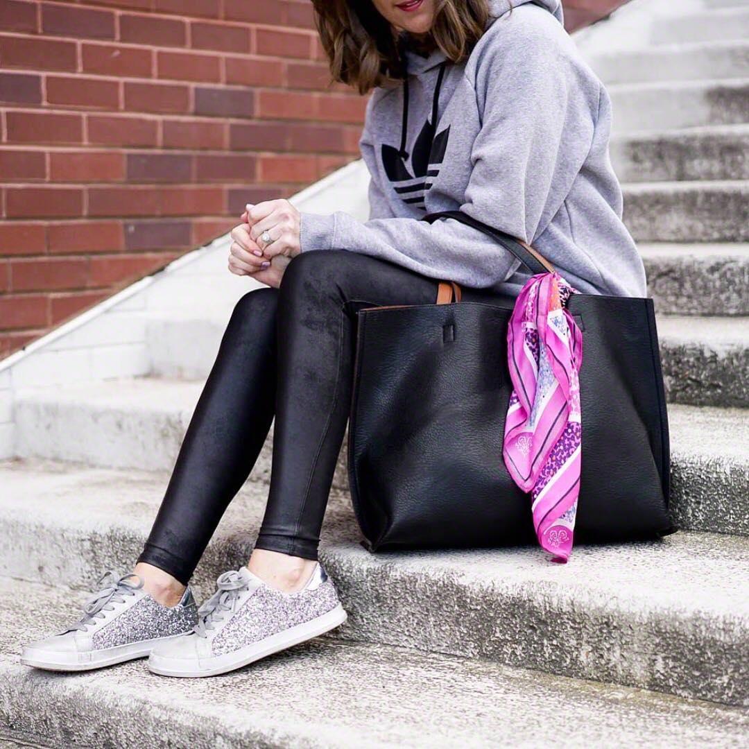 f7c5038106e21 adidas-sweatshirt-spanx-faux-leather-leggings-leggings -outfit-glitter-sneakers