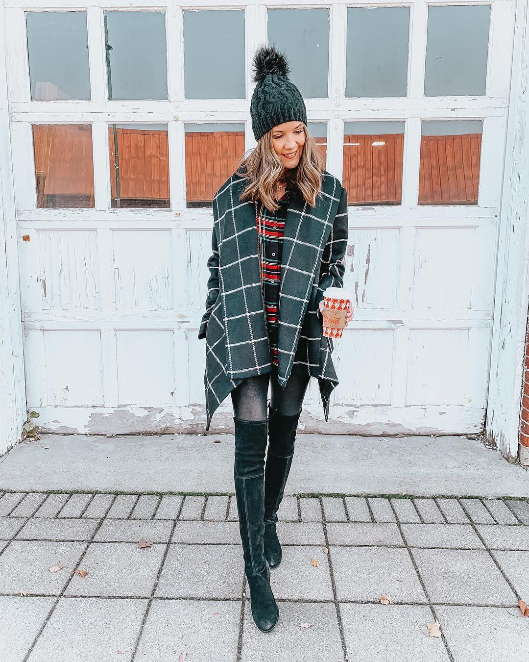 Grid Print Wrap Coat Faux Leather Leggings Leggings Outfit Over The Knee Boots Stuart Weitzman Lowland Boots Wishes Reality
