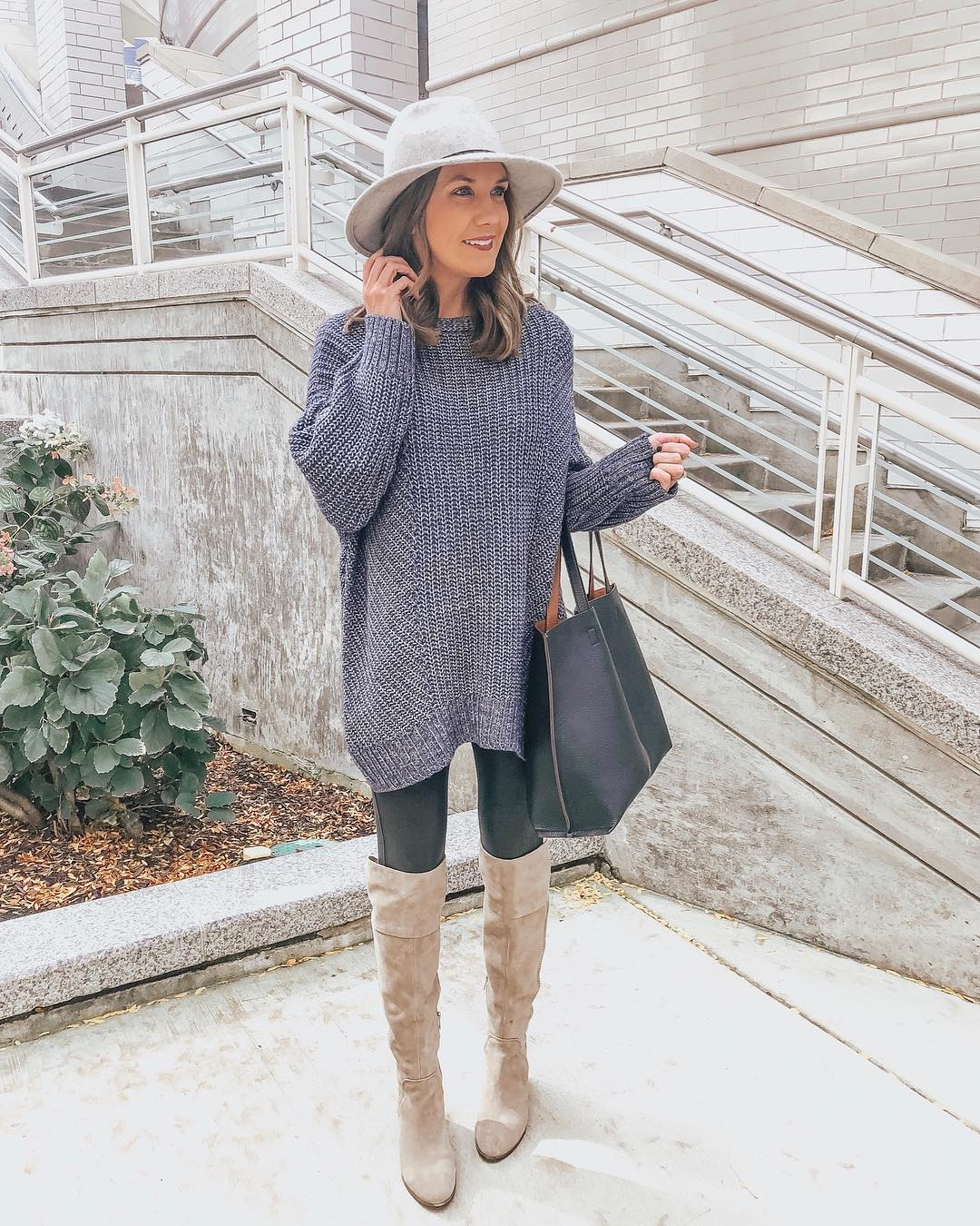 oversized sweater leggings outfit over the knee boots spanx