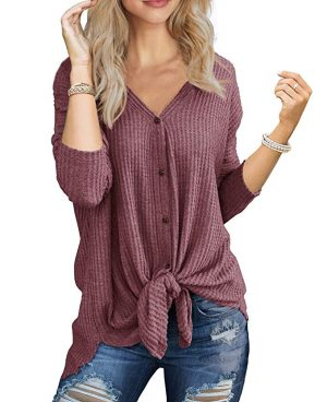 amazon tie front thermal top