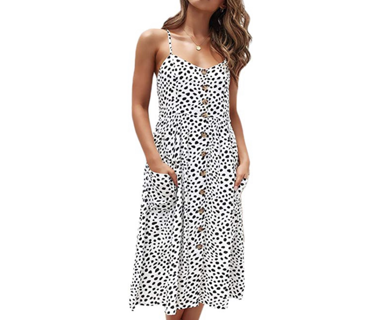 transitional spring outfits, amazon fashion, black spotted spaghetti strap sundress