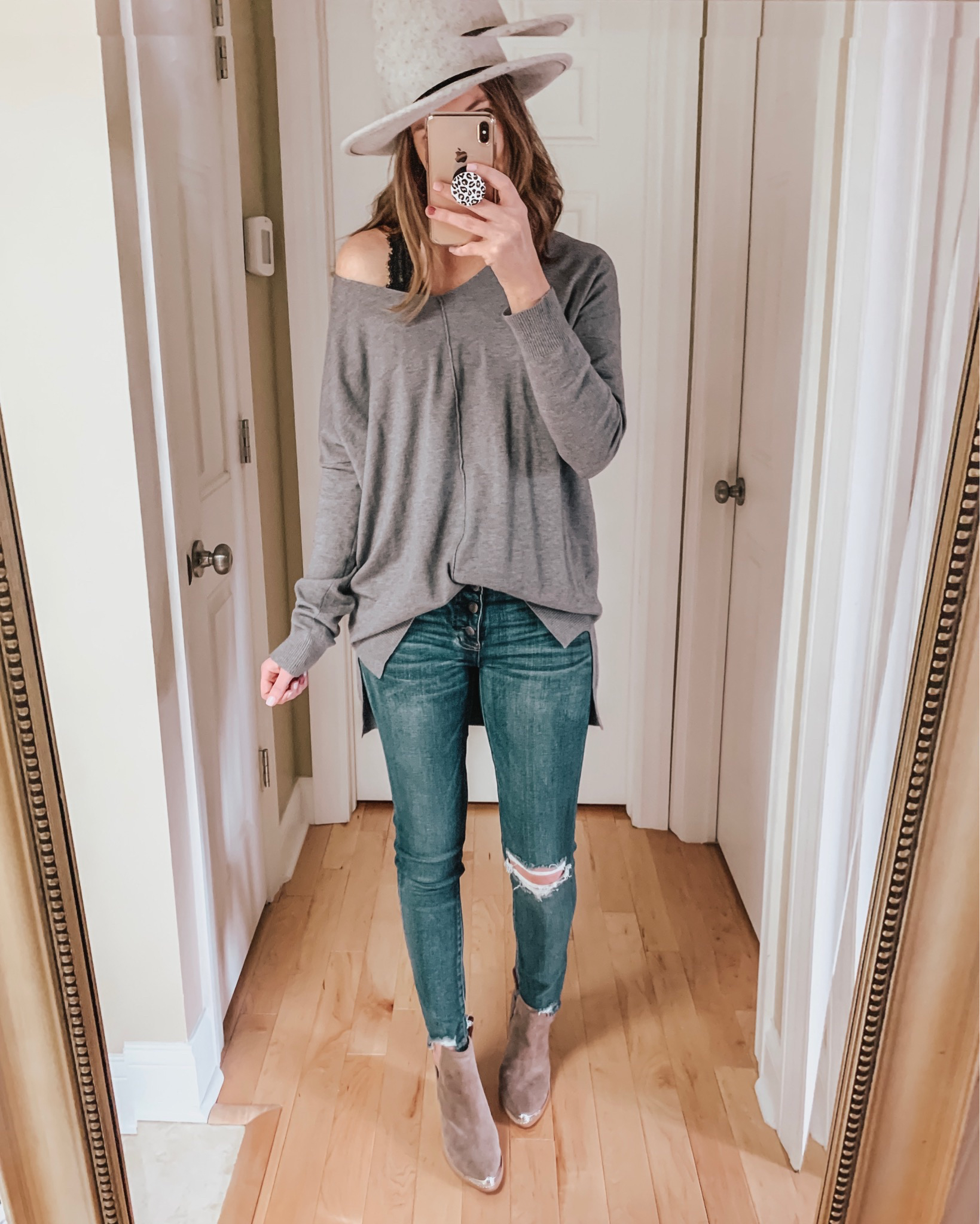 grey v-neck off shoulder tunic sweater