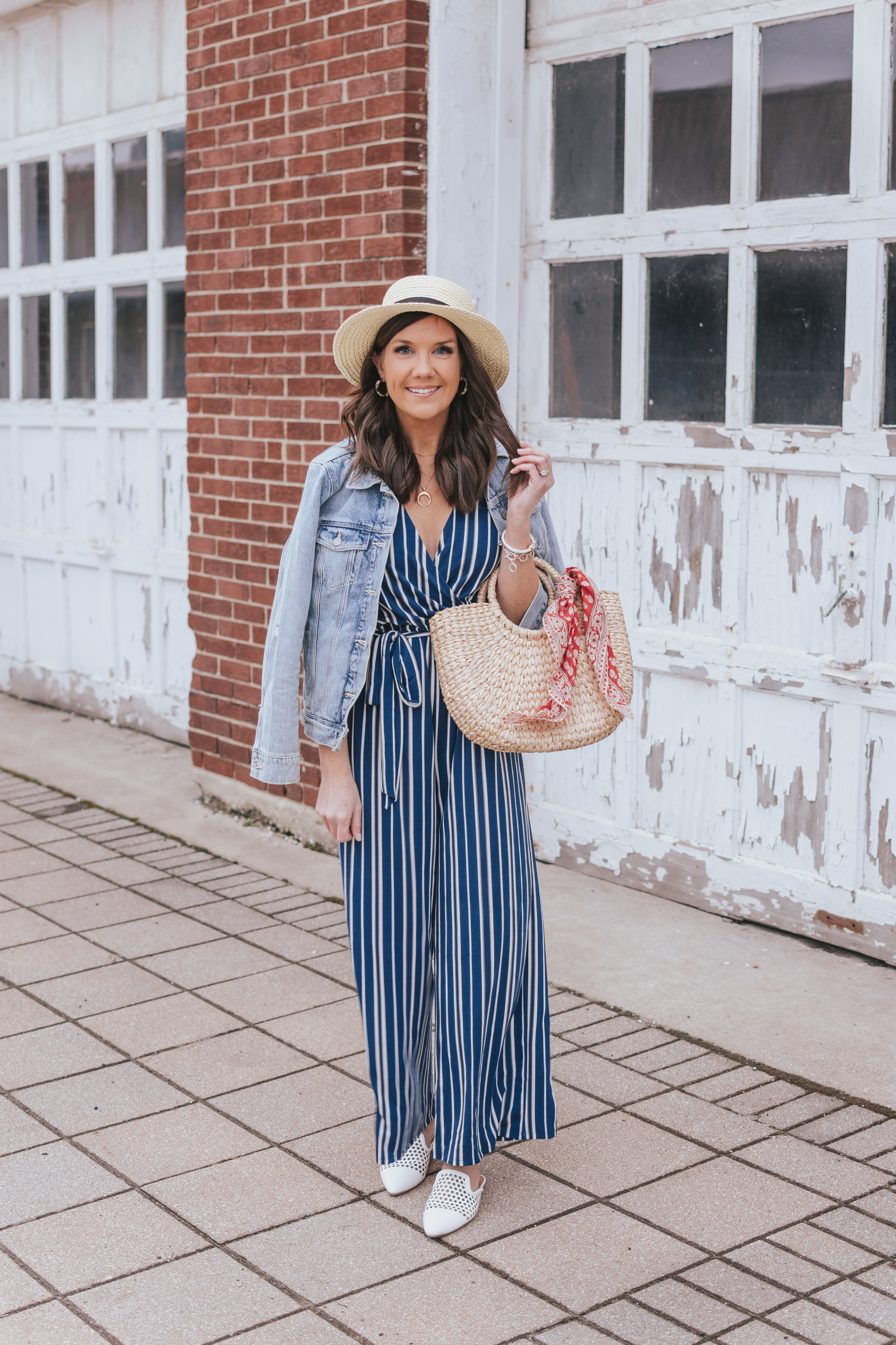 Styling a Wide Leg Jumpsuit, spring fashion at Walmart fashion finds, navy striped jumpsuit, sam edelman dupes, affordable fashion, vacation outfit
