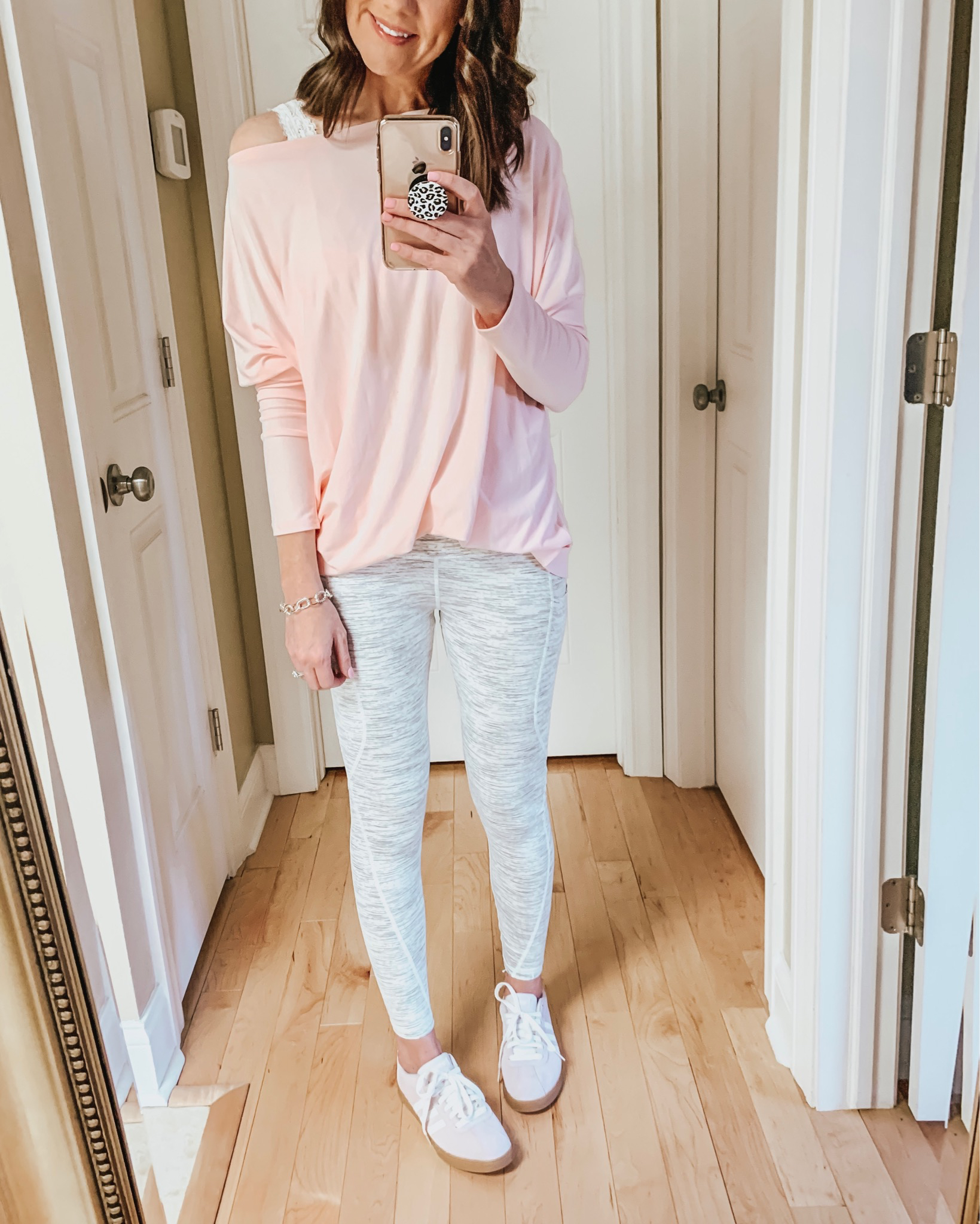 transitional spring outfits, white space dye leggings Amazon
