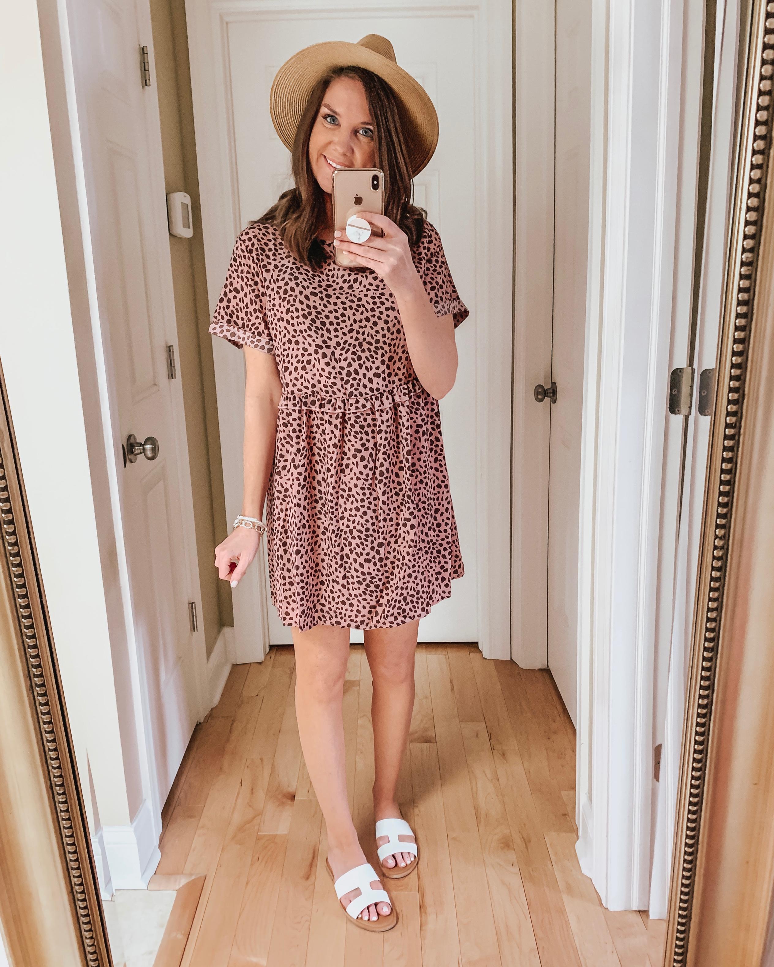 Amazon pink leopard babydoll dress