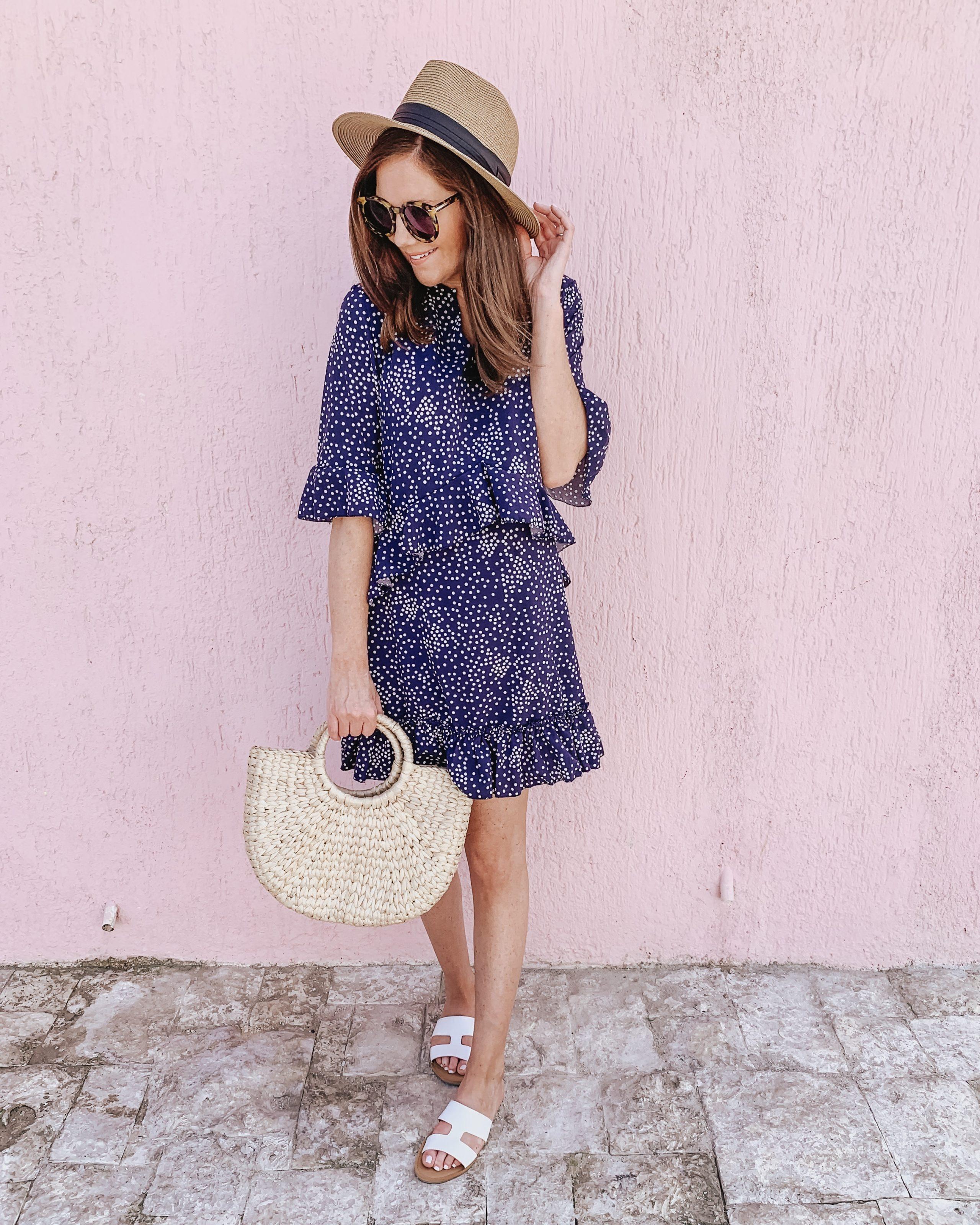 Amazon ruffle polka dot dress