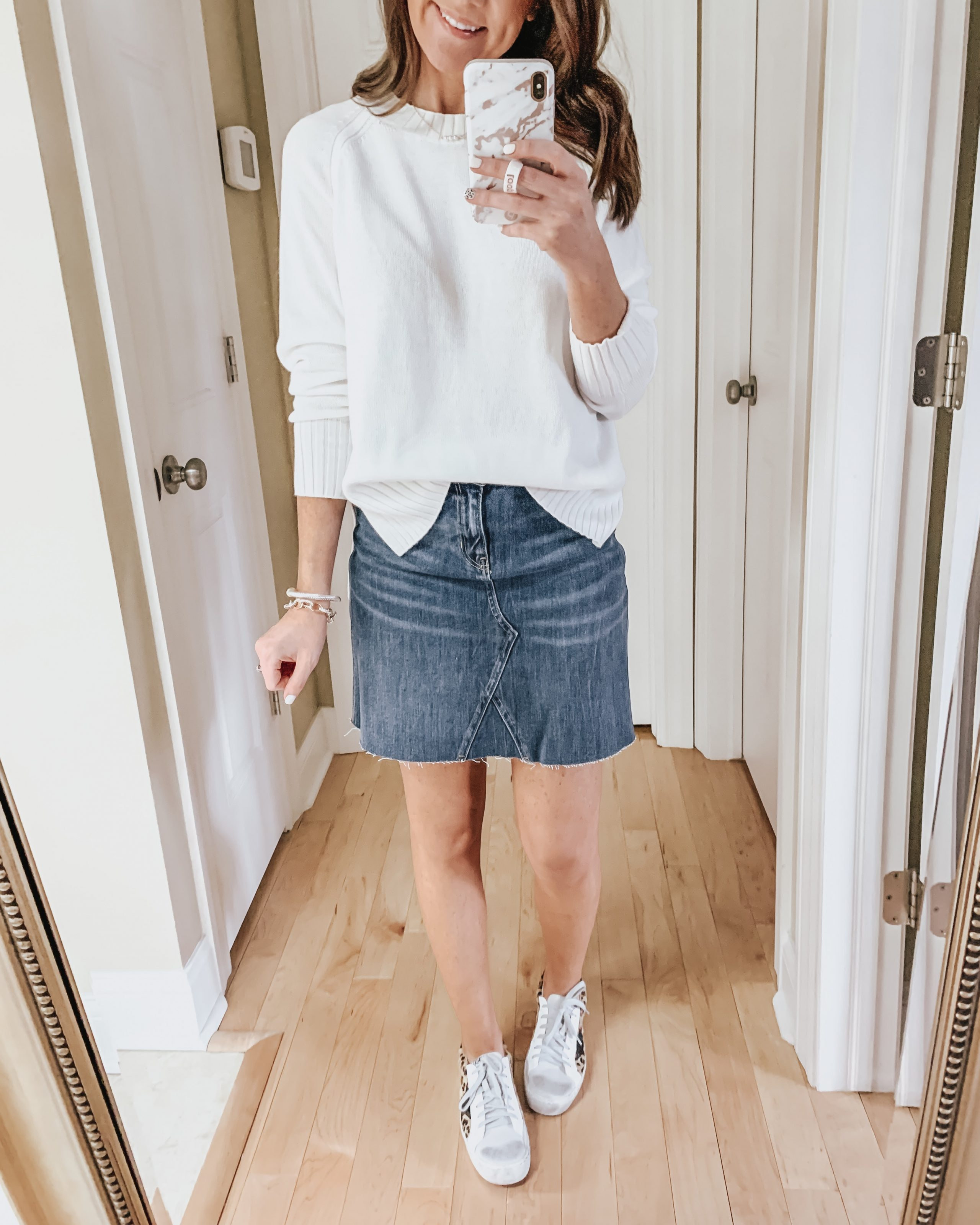 six ways to style a skirt, sneakers, denim skirt, sweater, Old Navy