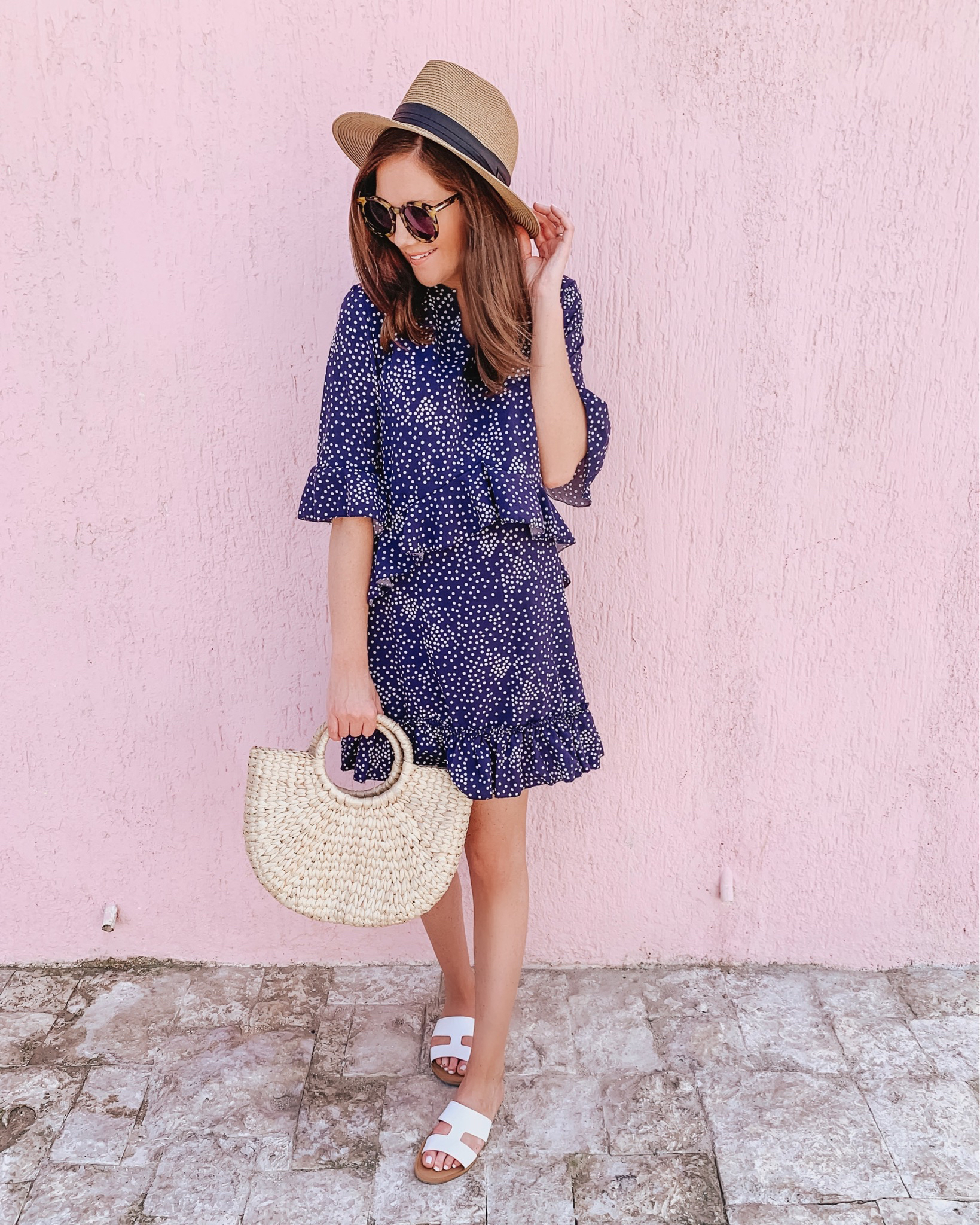 casual wardrobe basics, amazon fashion, ruffle polka dot dress, summer dress, vacation, outfit, pink wall