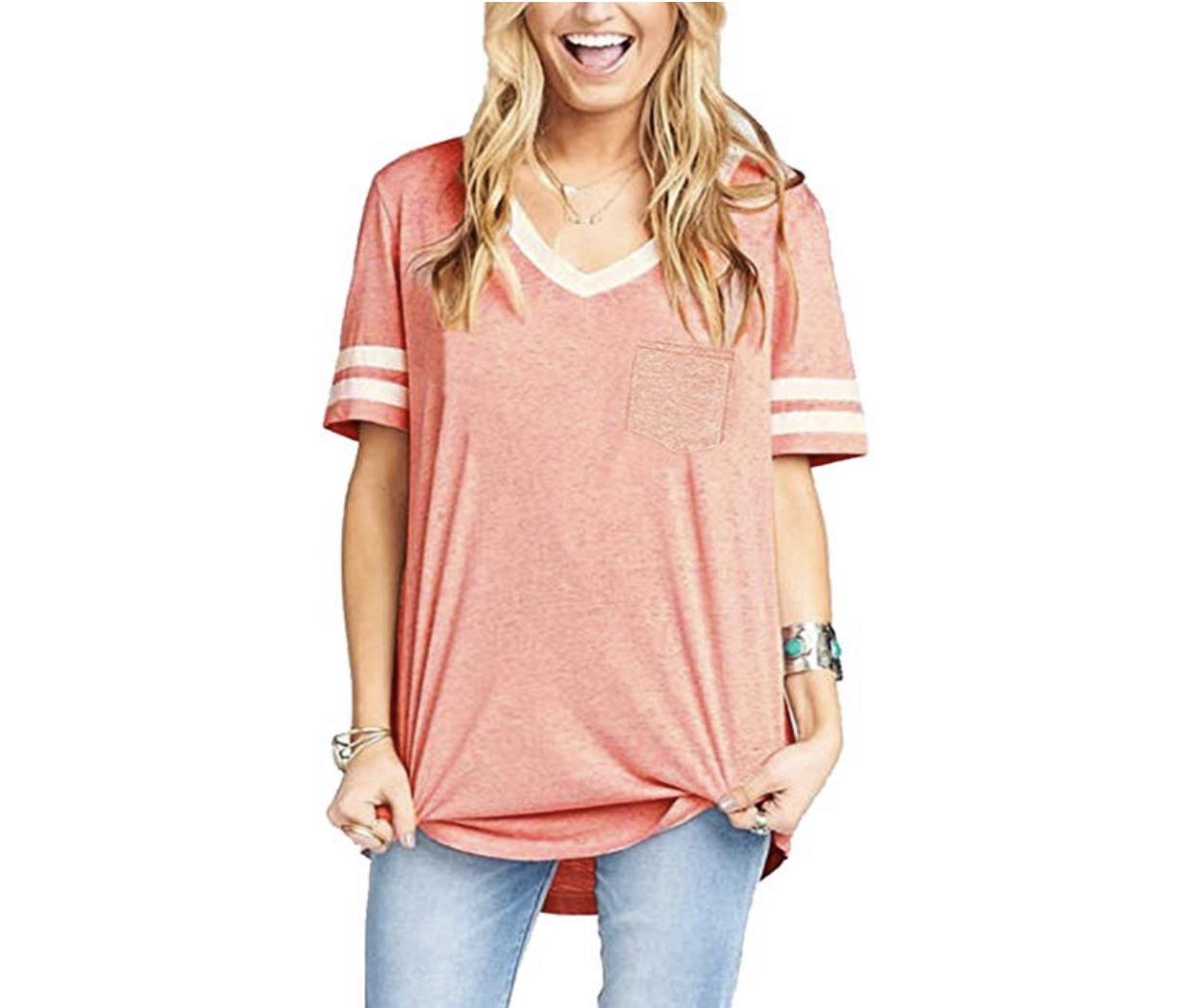 casual wardrobe basics, baseball tee, amazon fashion, pink