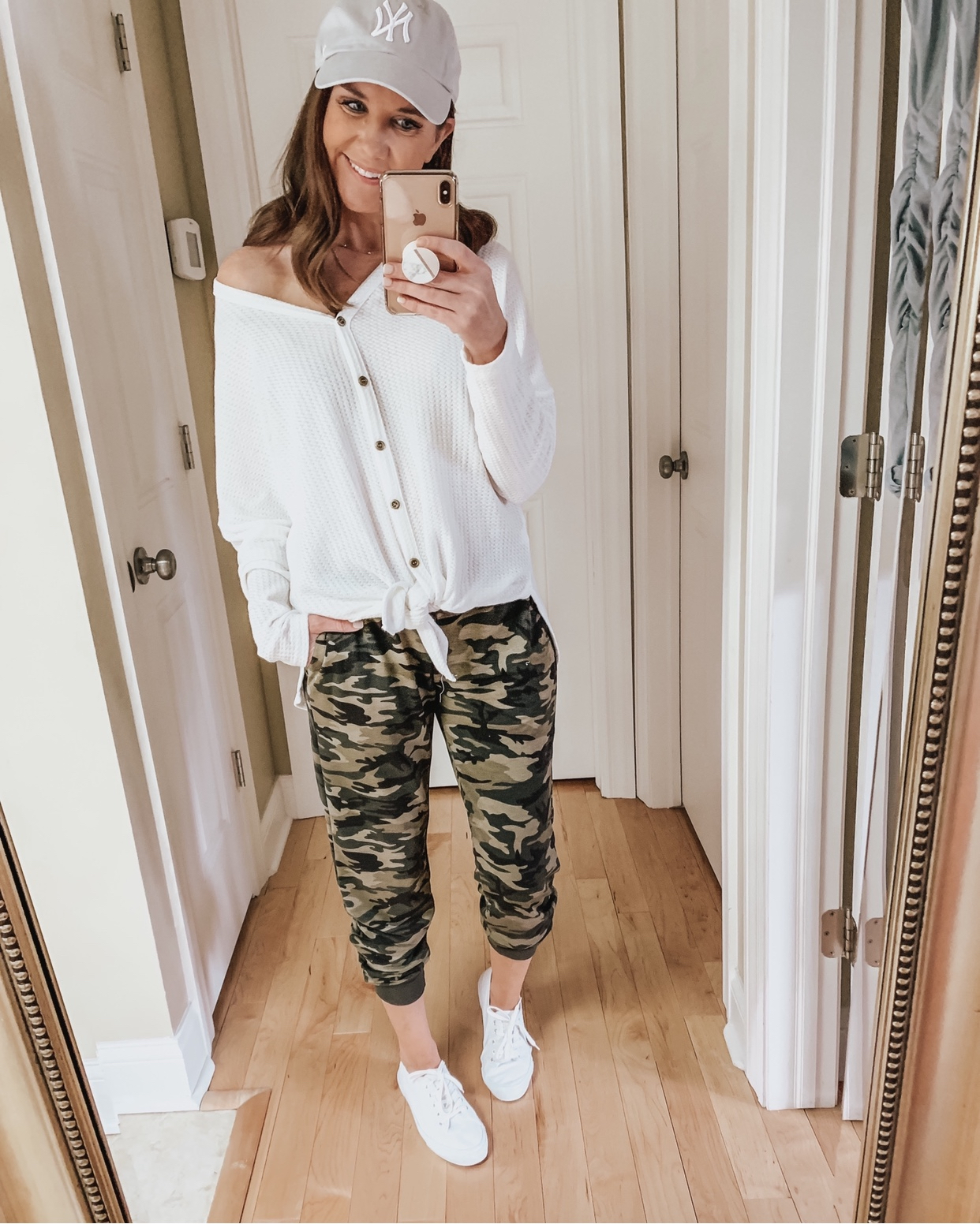 casual wardrobe basics, camo joggers, tie front thermal, amazon fashion, casual outfit, weekend outfit