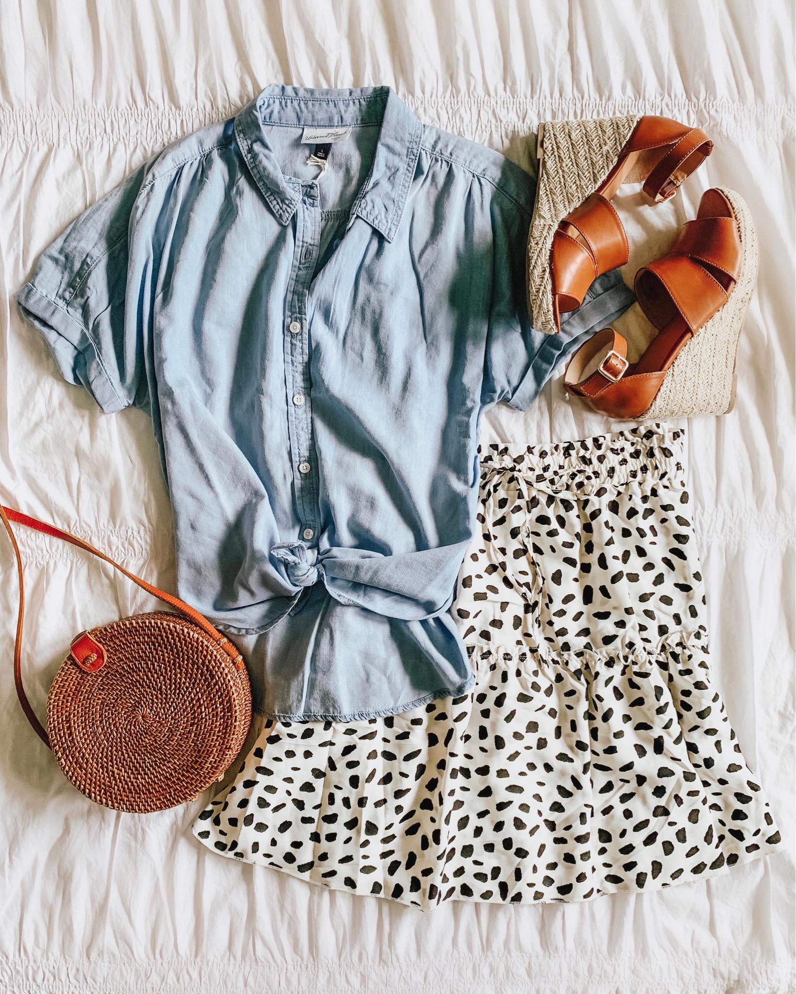 versatile summer fashion, Amazon fashion, printed tiered mini skirt, short sleeve chambray shirt