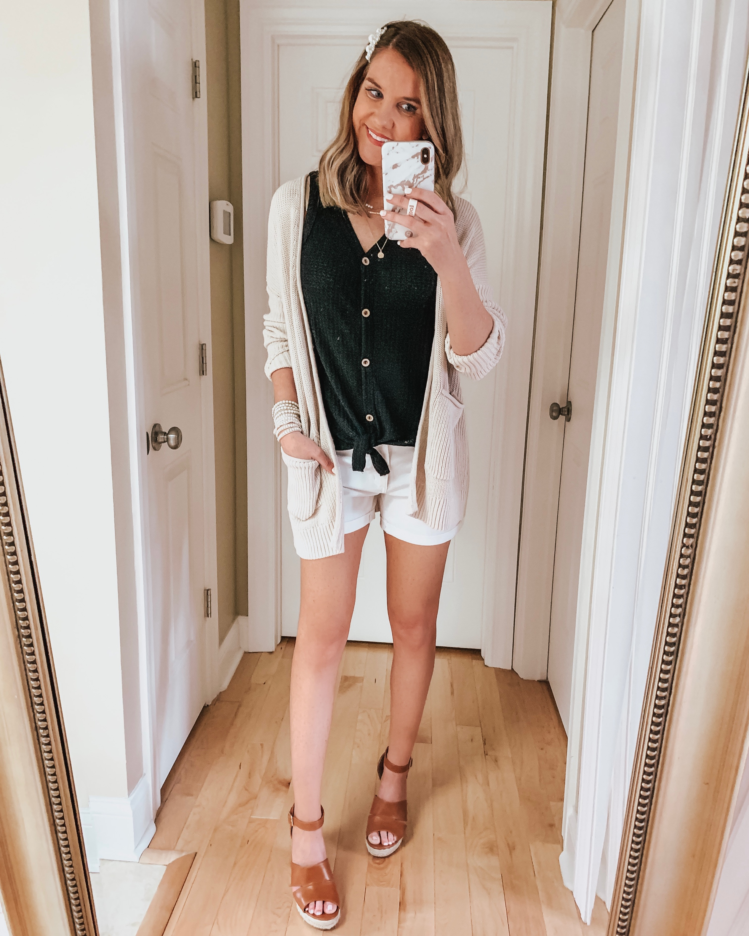 nine ways to style white shorts, amazon fashion, tie front top