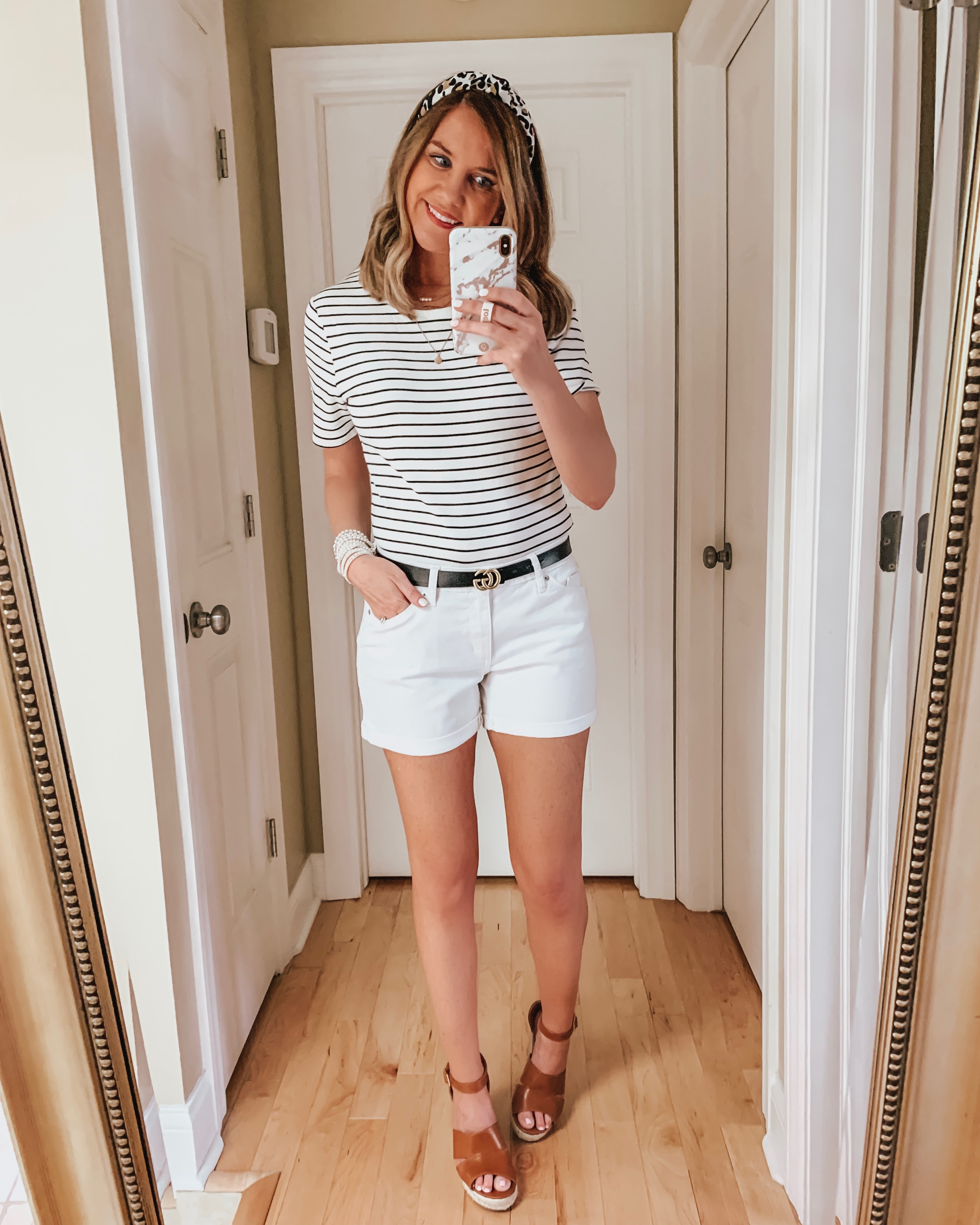 nine ways to style white shorts, leopard headband, Gucci dupe belt, striped tee