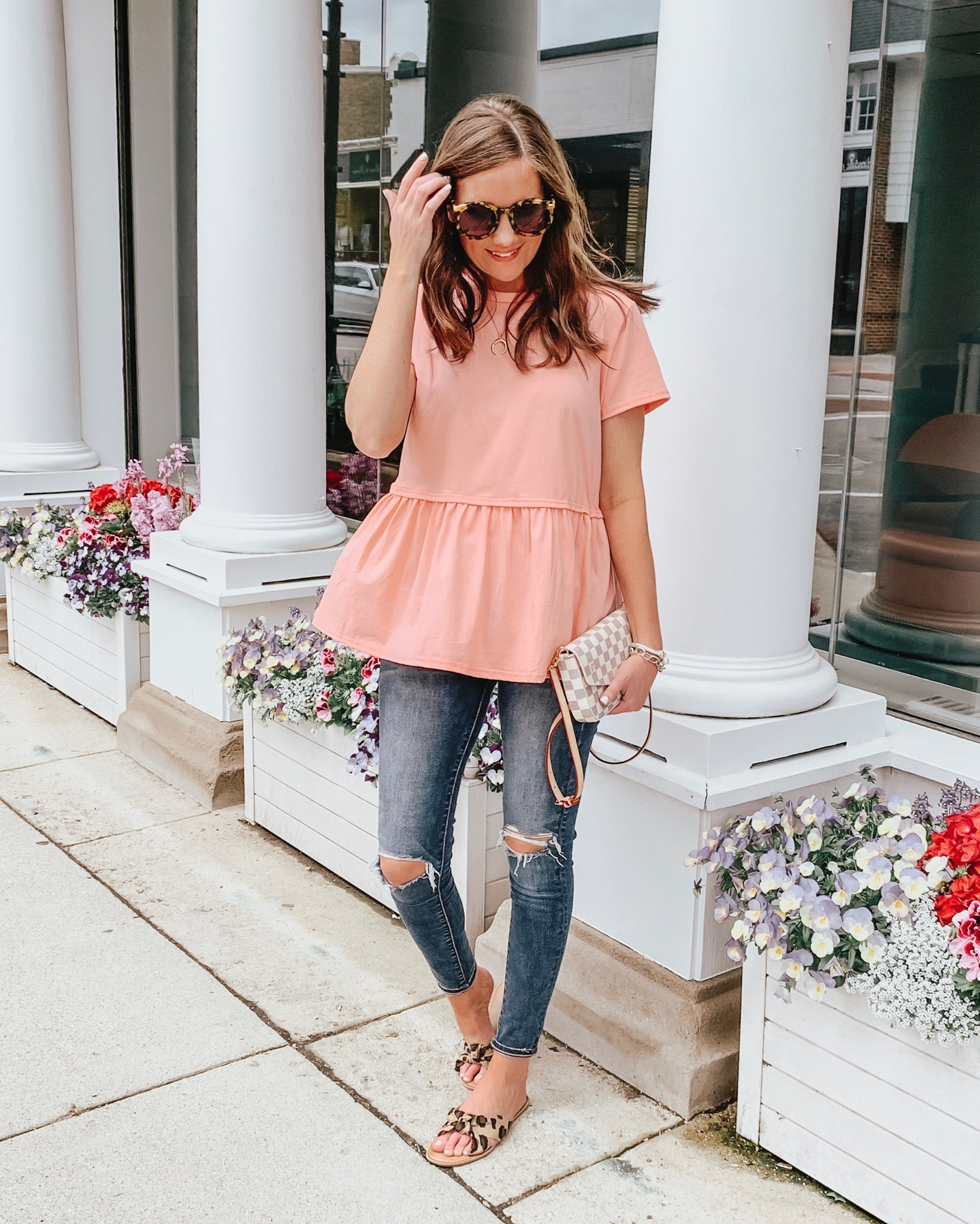 how to shop social media, Old Navy leopard slide sandals, pink peplum tee, louis vuitton dupe