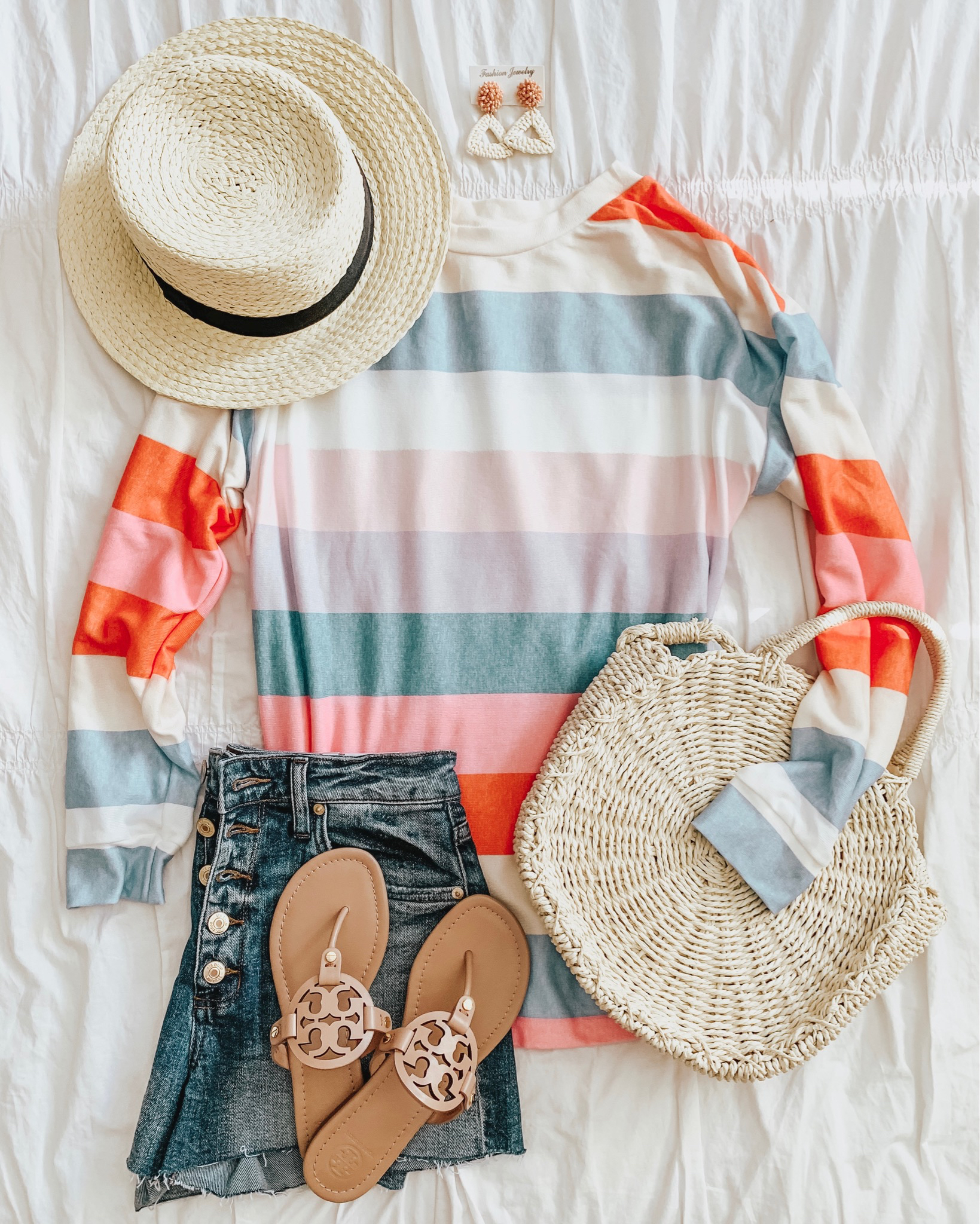 how to shop social media, amazon fashion, colorful striped pullover, casual summer outfit, Wildfox dupe