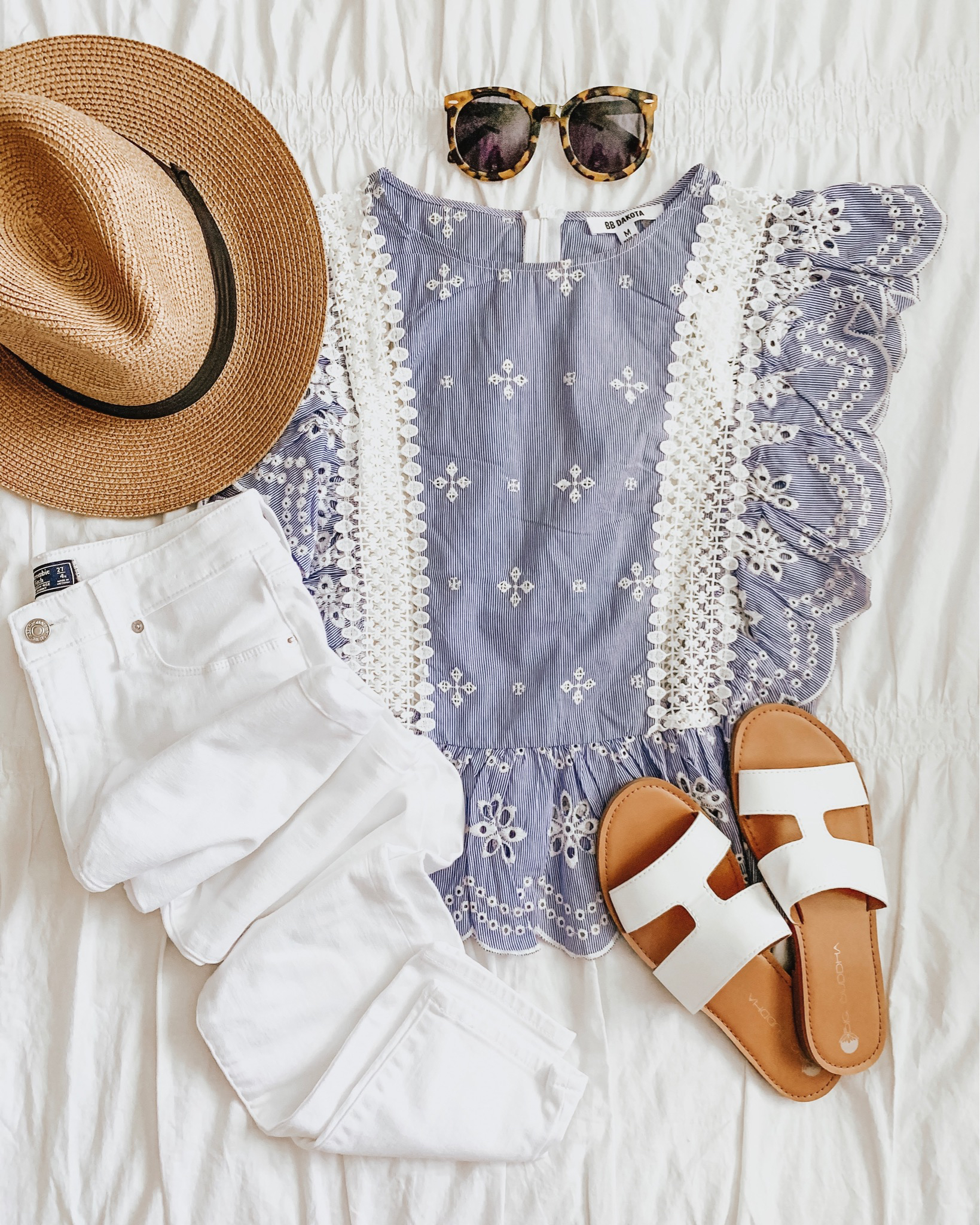 how to shop social media, blue and white ruffle blouse white jeans outfit