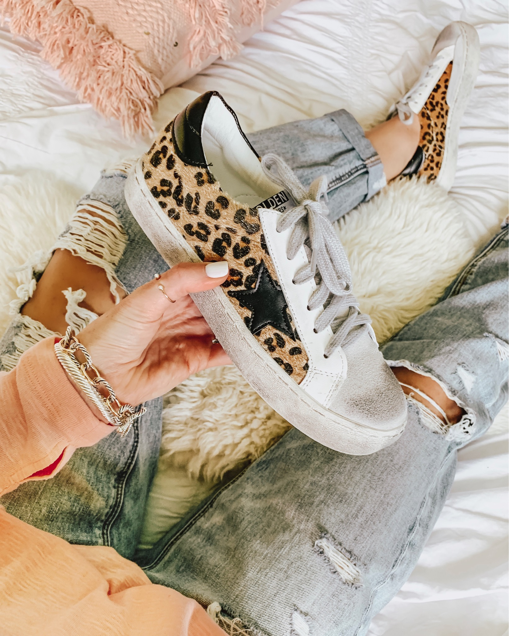 how to shop social media, golden goose leopard sneaker dupes