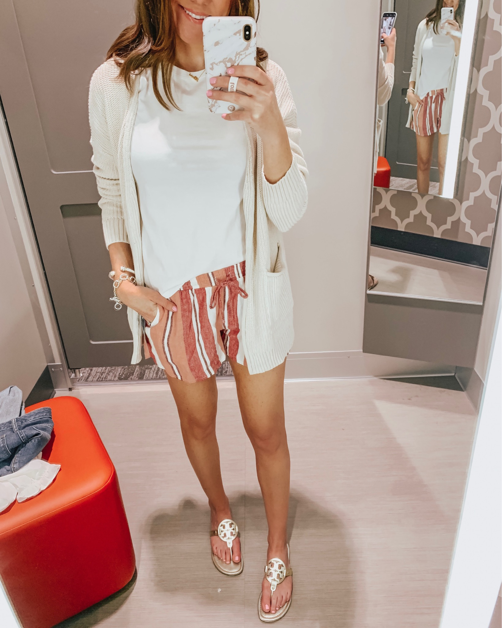 how to shop social media, target try on, Universal Thread pull on shorts, oversized cardigan