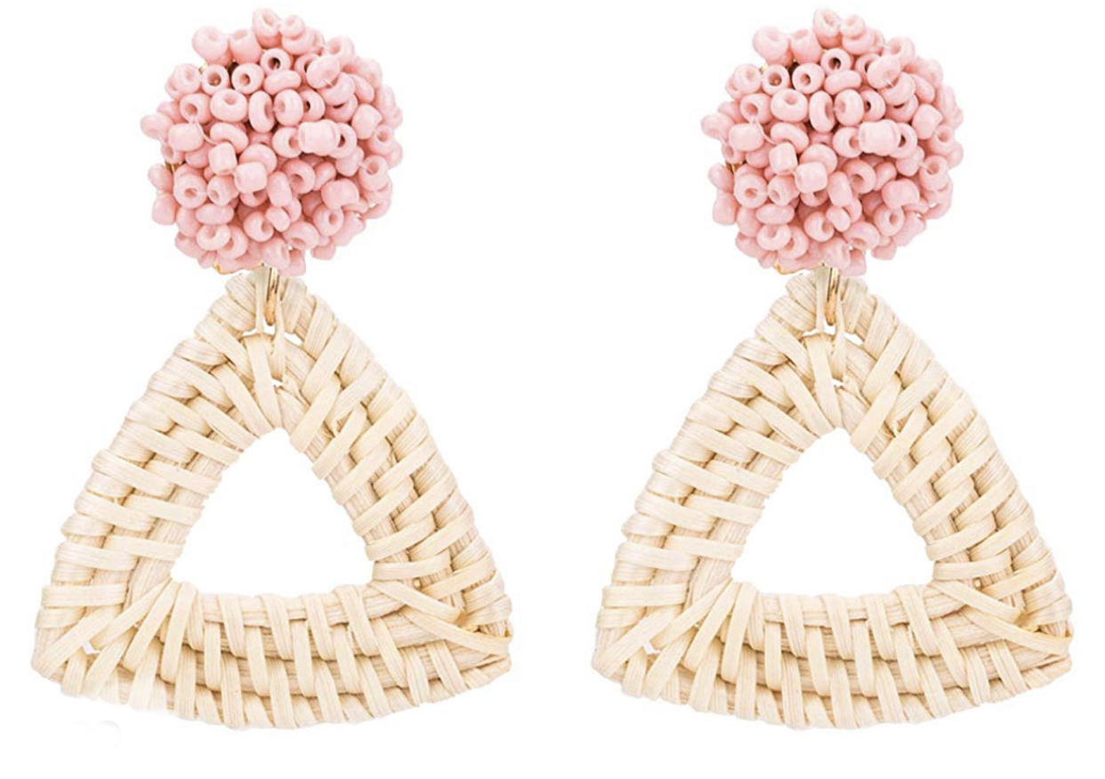 summer closet staples, amazon accessories, rattan earrings, lightweight earrings