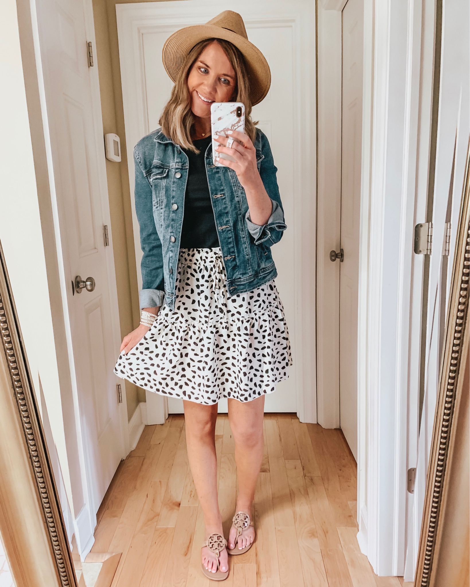 versatile dresses and skirts, how to shop social media, feminine mini skirt outfit, denim jacket pink, mules, Amazon fashion, tiered mini skirt
