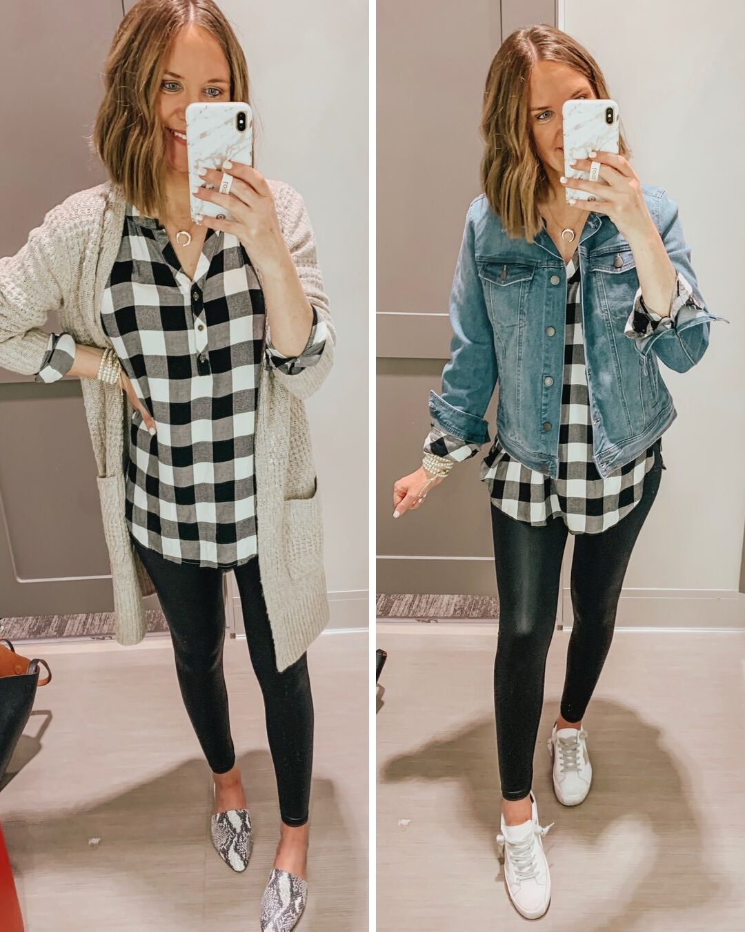 Target fall fashion preview 2019, black and white buffalo plaid tunic, Spanx faux leather leggings dupe, Wild Fable liquid leggings, long cardigan, jean jacket