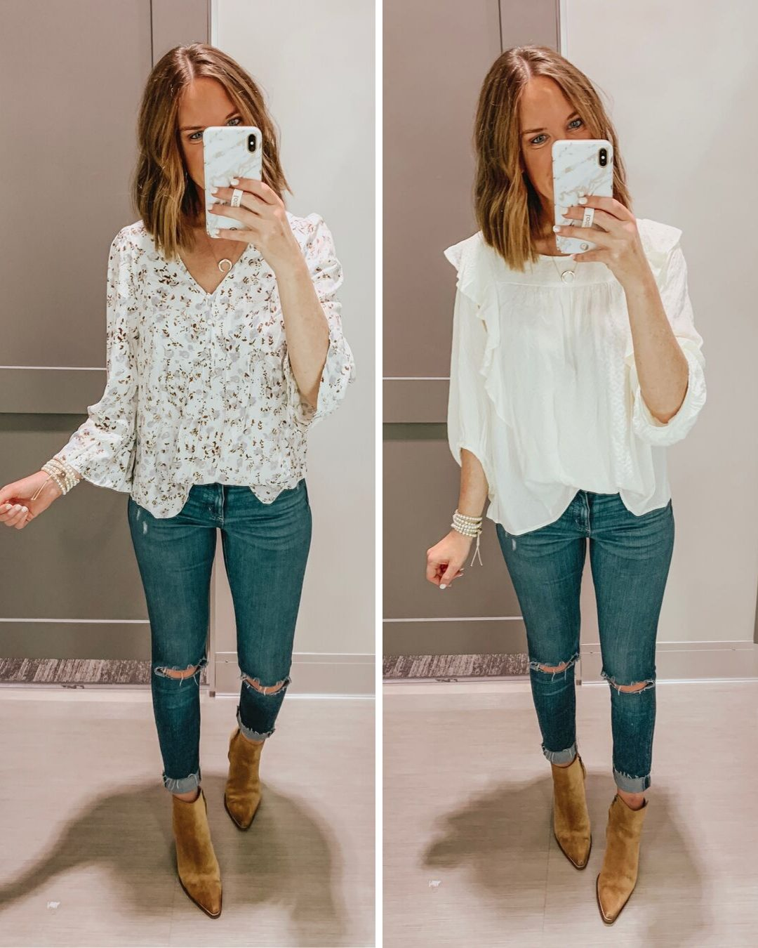 Target fall fashion preview 2019, peasant blouse, white ruffle blouse, suede pointed booties, UNiveresal Thread jeans