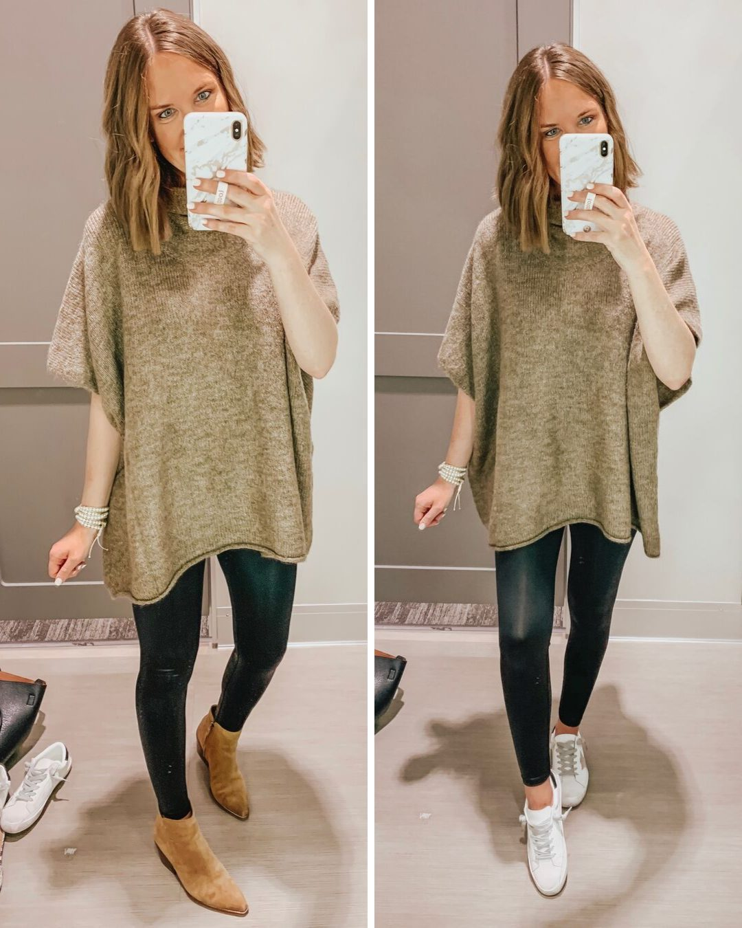 Target fall fashion preview 2019, TARGET SWEATER PONCHO, SPANX LEGGINGS DUPES