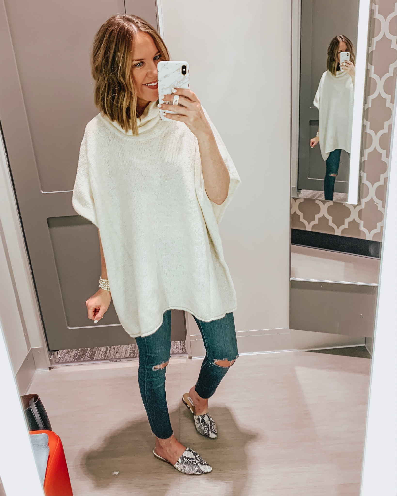 Target fall fashion preview 2019, Target poncho sweater, snakeskin flats