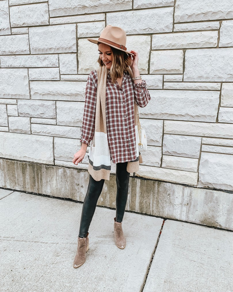 sleeveless-cardigan-plaid-shirt-leggings-and-layers