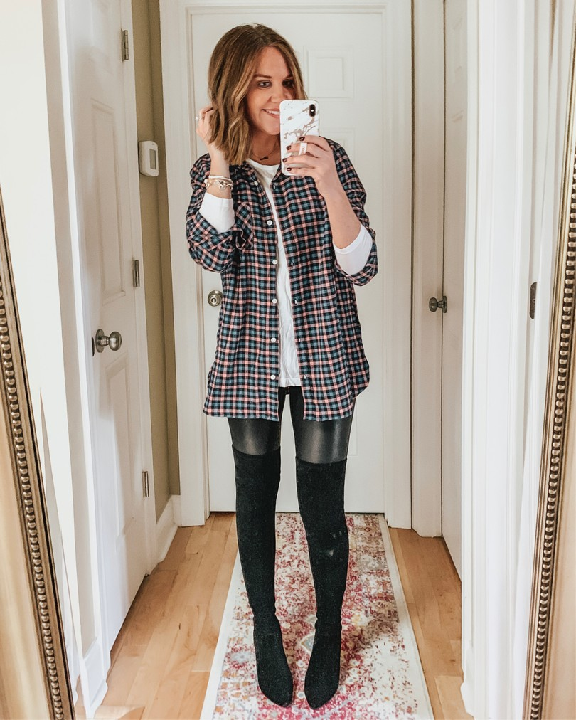 over-the-knee-boots-plaid-shirt-leather-leggings-fall-outfit
