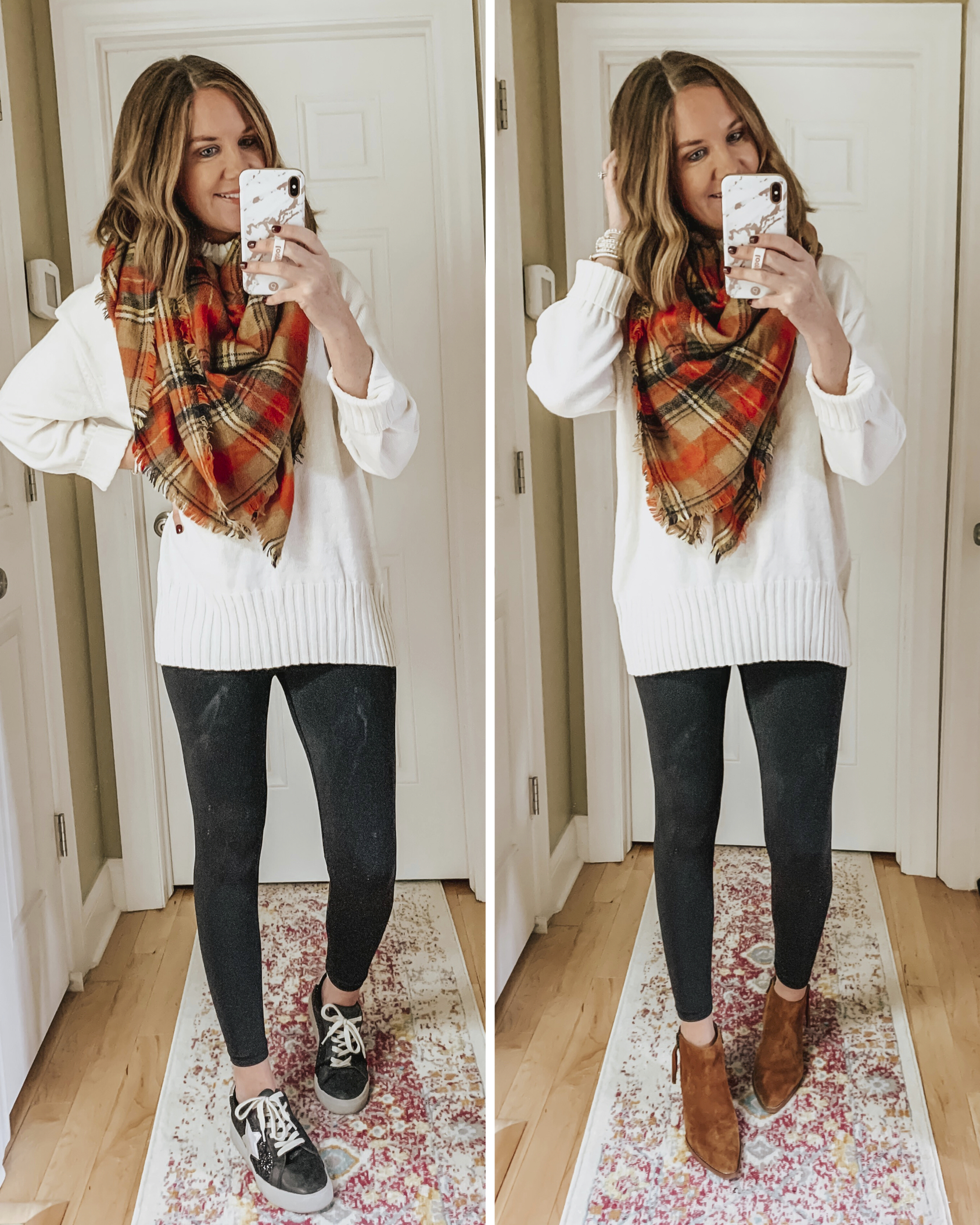 leggings-with-tunic-sweater-sneakers-Golden-Goose dupes-fall-scarf