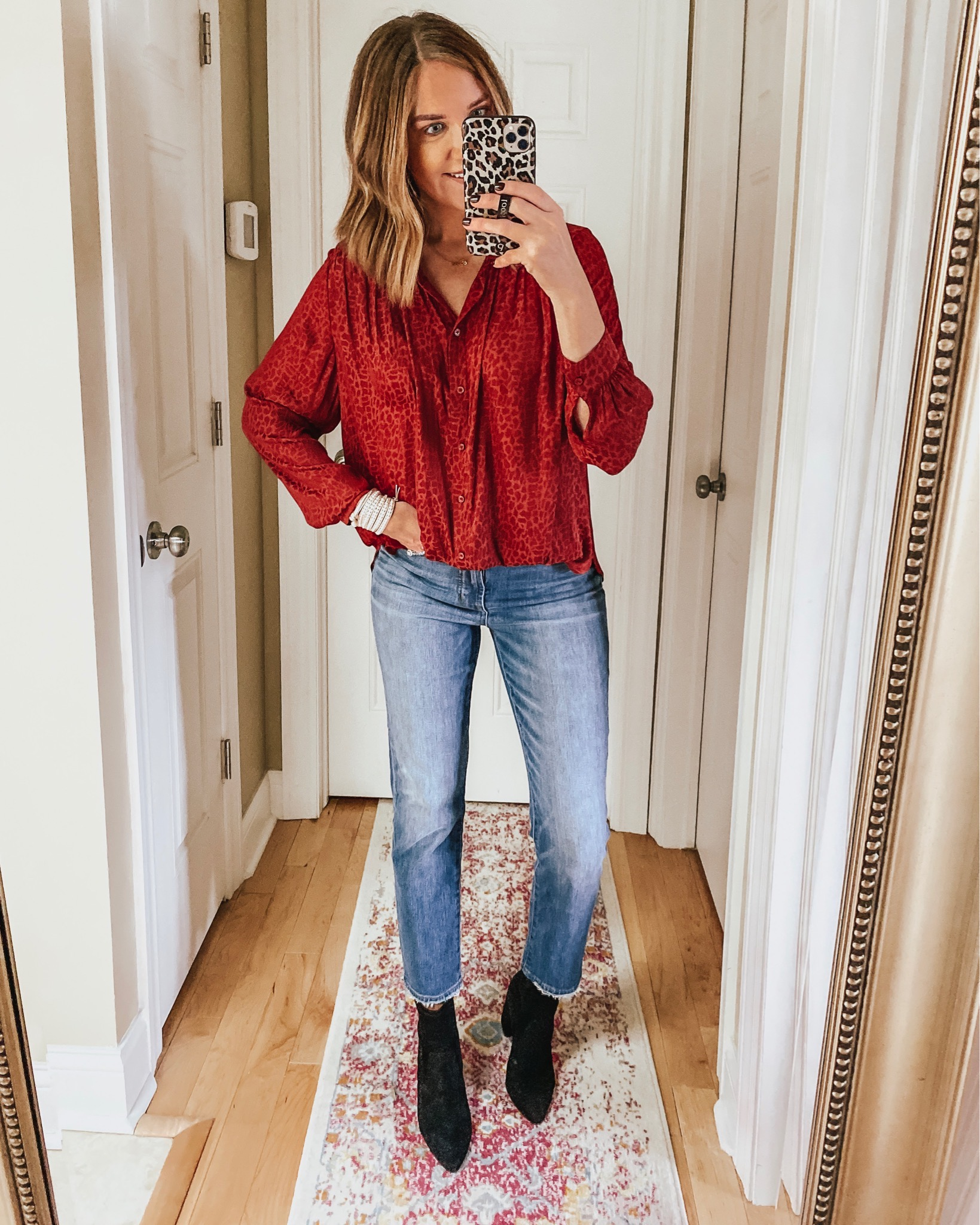 holiday Outfit, red leopard blouse