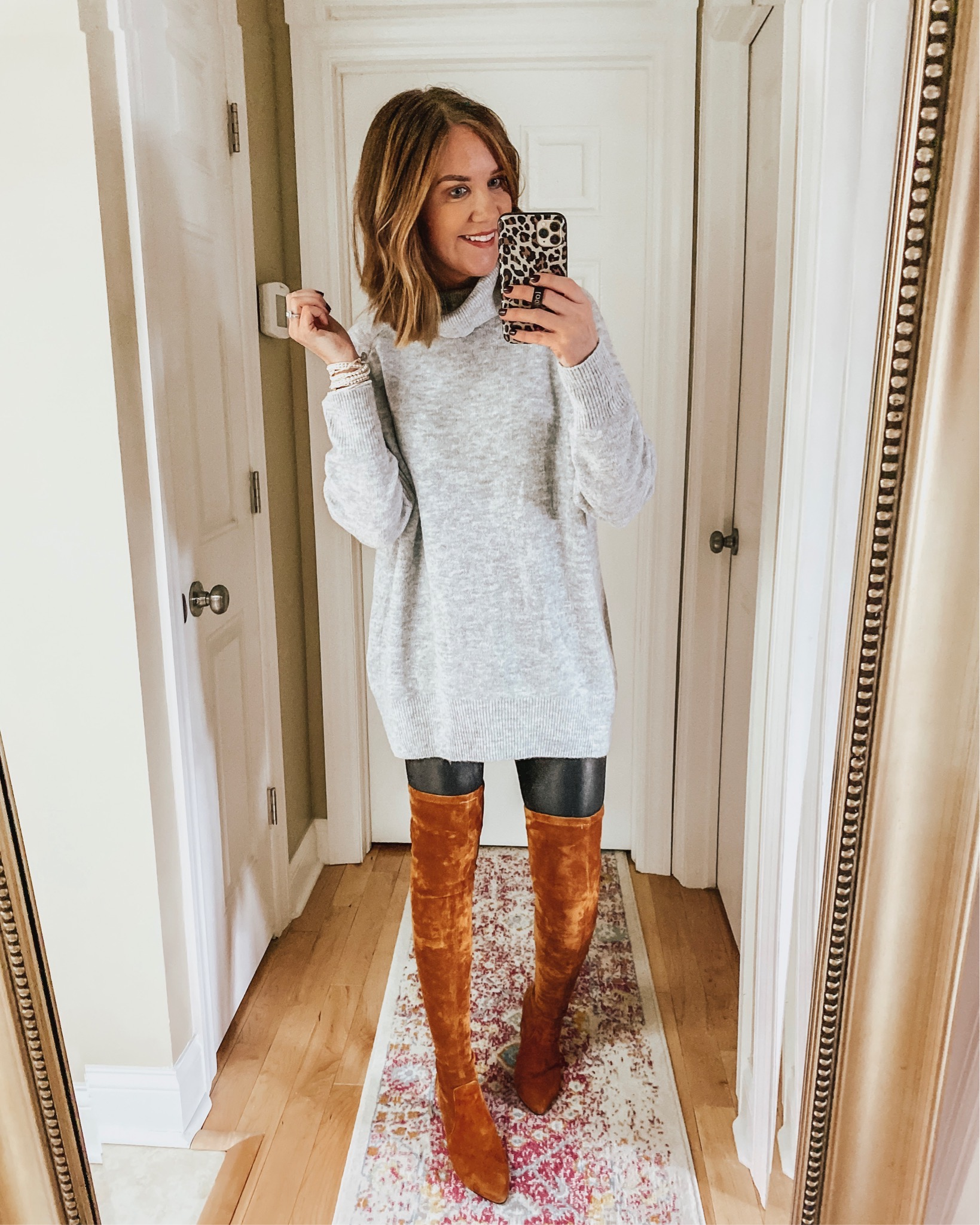 Thanksgiving Outfit Ideas, sweater dress with leggings, faux leather leggings, leggings outfit, over the knee boots